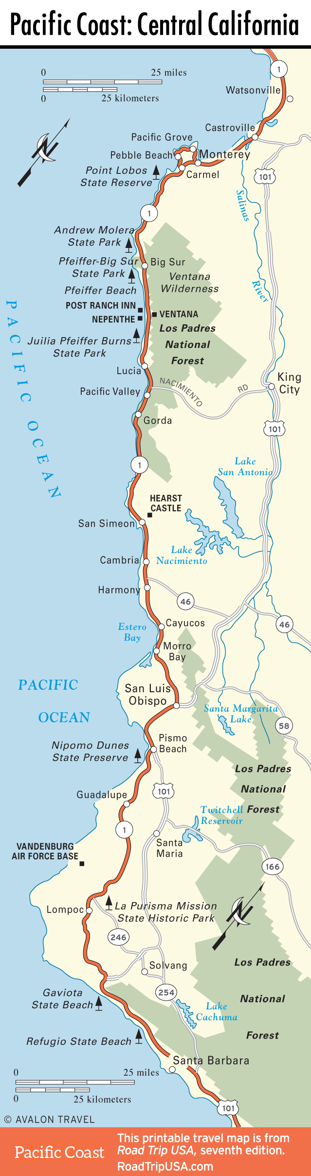 Map Of Highway 101 In California - Klipy - California Coast Map 101