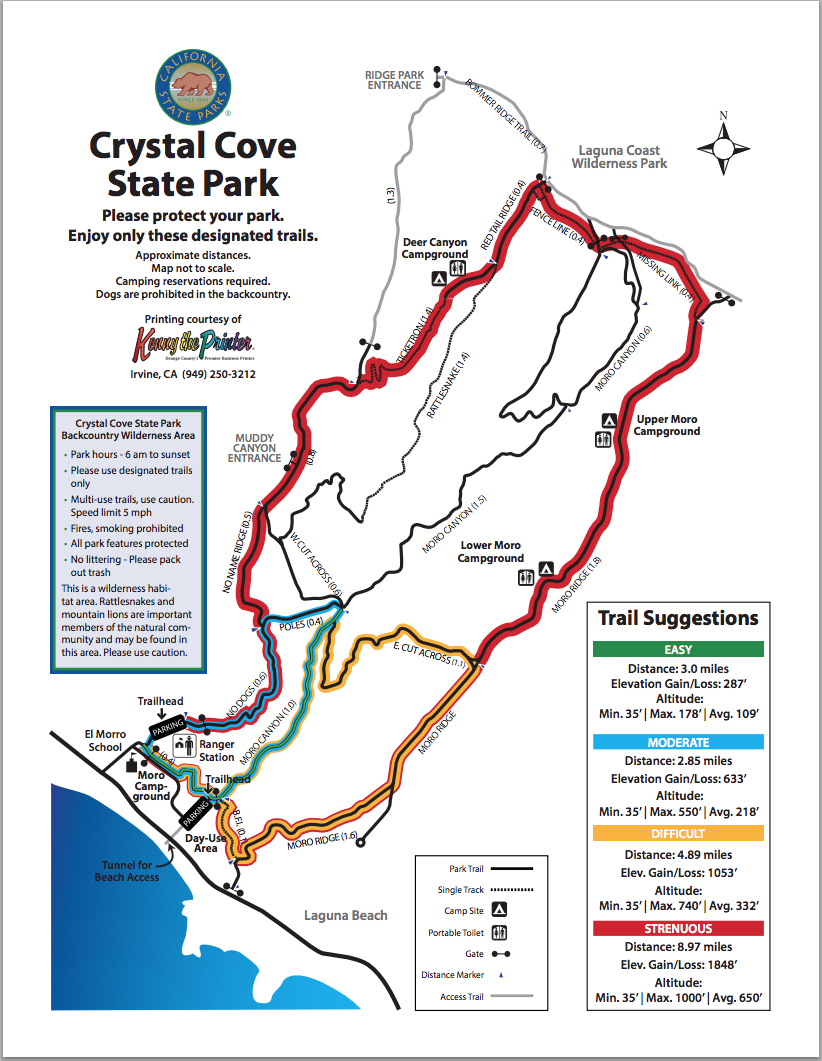 Map Of Hiking Trails | Crystal Cove - Laguna Beach California Map