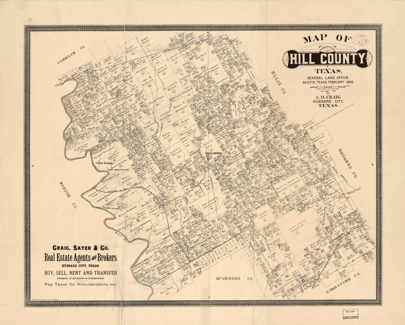 Map Of Hill County, Texas : General Land Office, Austin, Texas - Texas General Land Office Maps