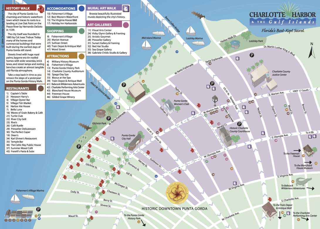 Map Of Historic Downtown Punta Gorda - Where Is Punta Gorda Florida On A Map