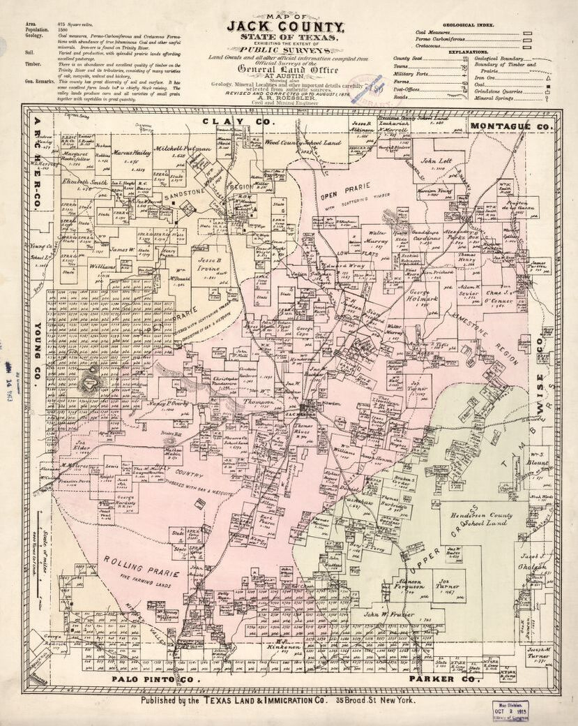 Map Of Jack County, State Of Texas : Exhibiting The Extent Of Public - Jack County Texas Map