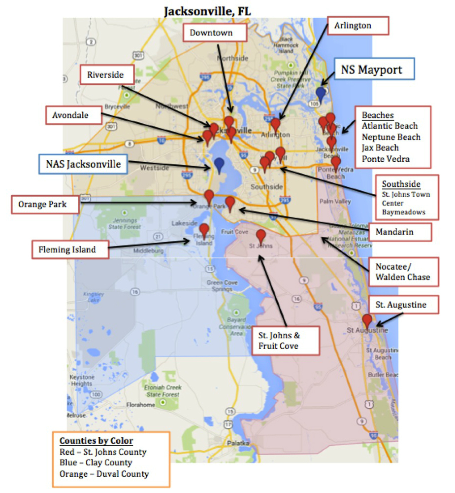 Map Of Jacksonville & Mayport, Florida | Military Town Advisor - Fleming Island Florida Map