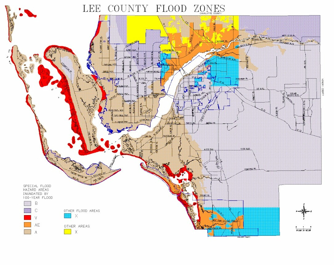 Map Of Lee County Flood Zones - North Fort Myers Florida Map