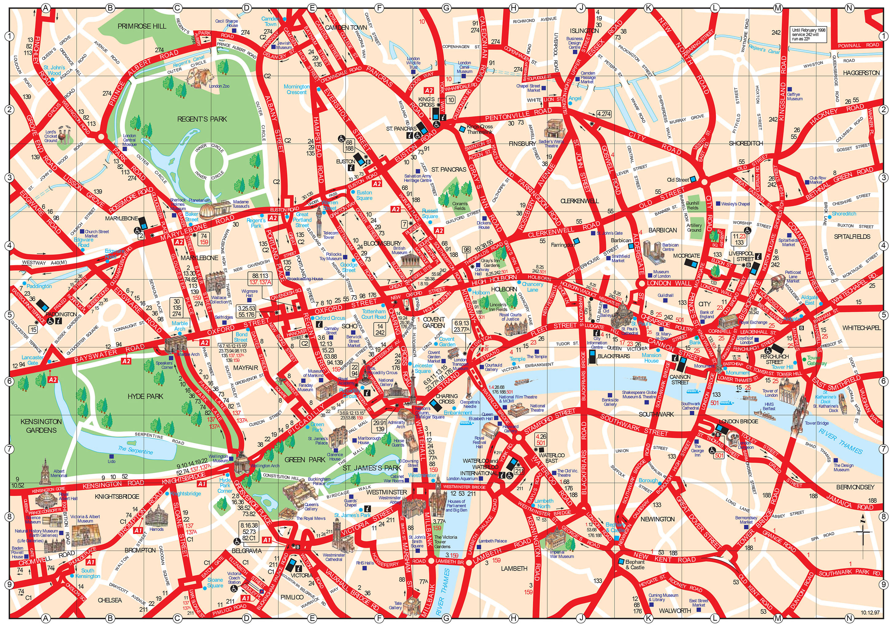 Map Of London Tourist Attractions, Sightseeing & Tourist Tour - Printable Map Of London England