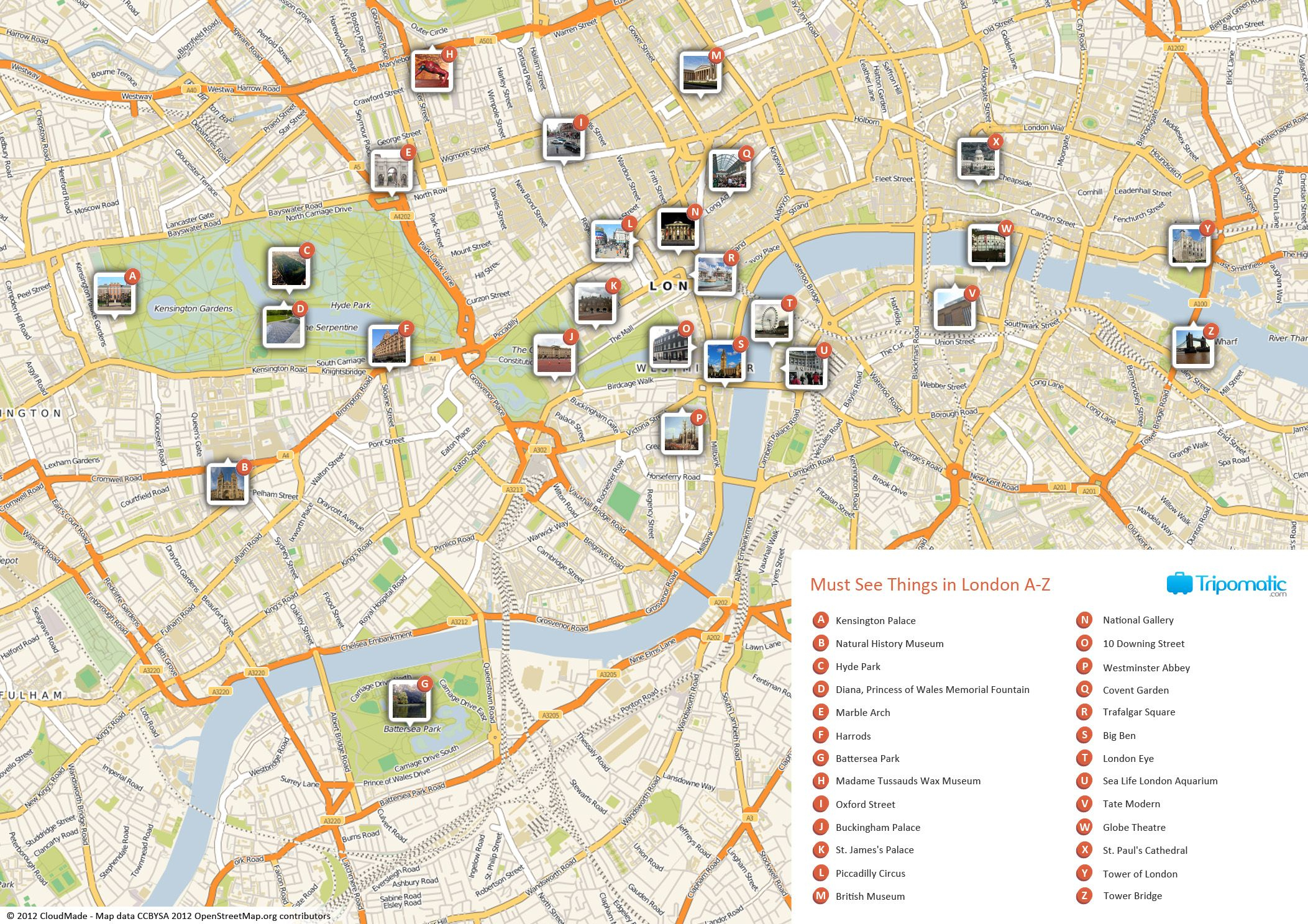 Map Of London With Must See Sights And Attractions. Free Printable - Printable Street Map Of London