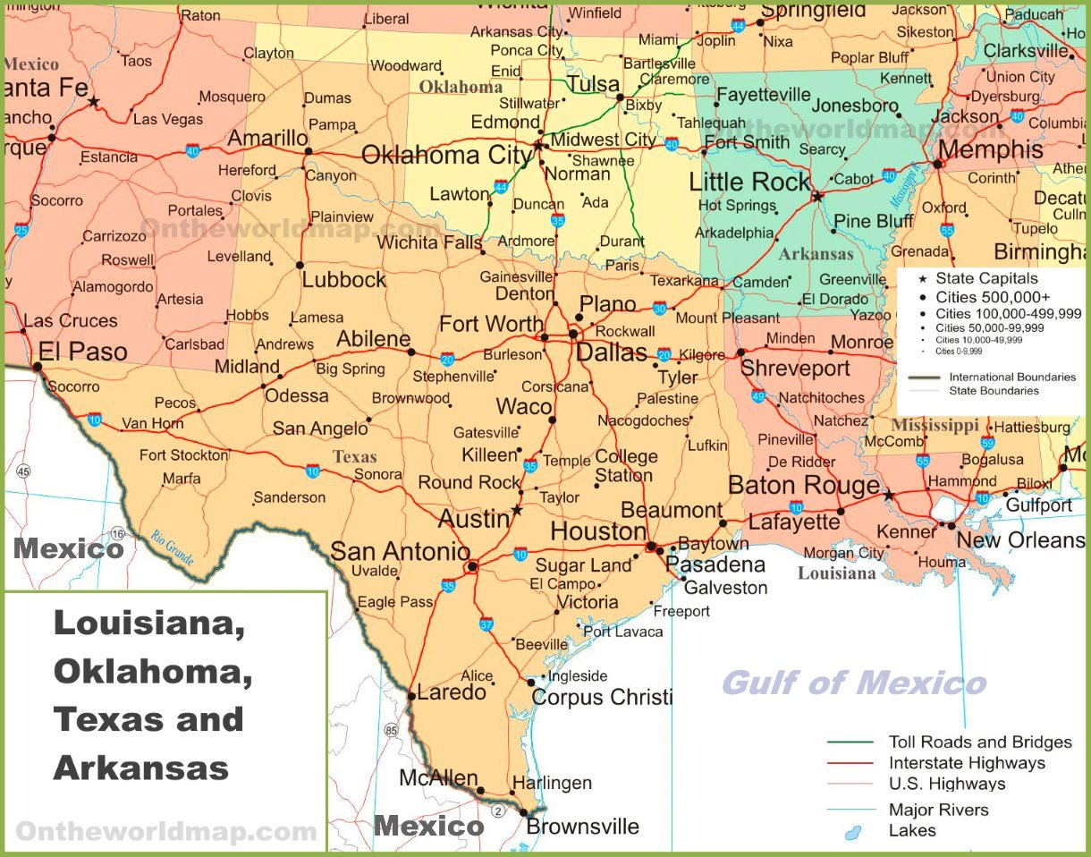 Map Of Louisiana, Oklahoma, Texas And Arkansas - Map Of Oklahoma And Texas Together