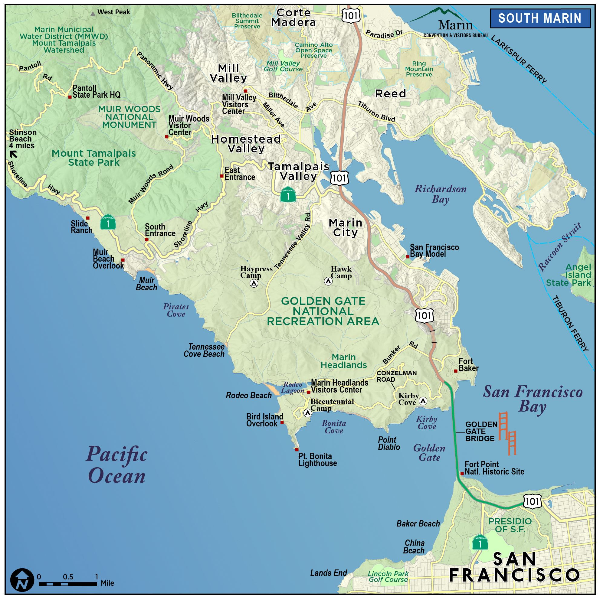 Map Of Marin & Directions - Marin County California Map