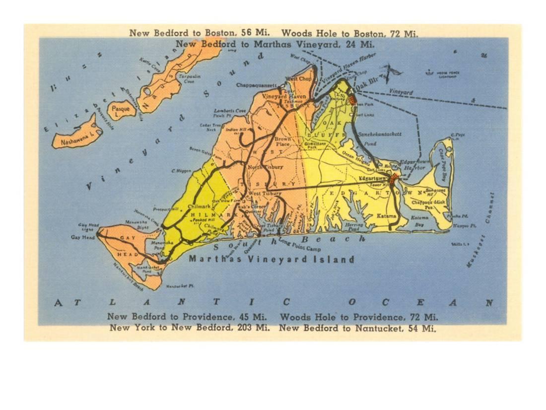 Map Of Martha's Vineyard, Massachusetts Print Wall Art - Walmart - Martha's Vineyard Map Printable