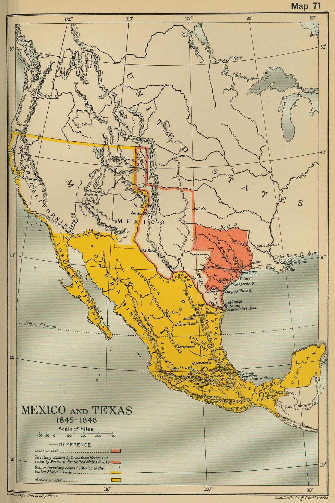 Map Of Mexico And Texas 1845-1848 - Rule Texas Map
