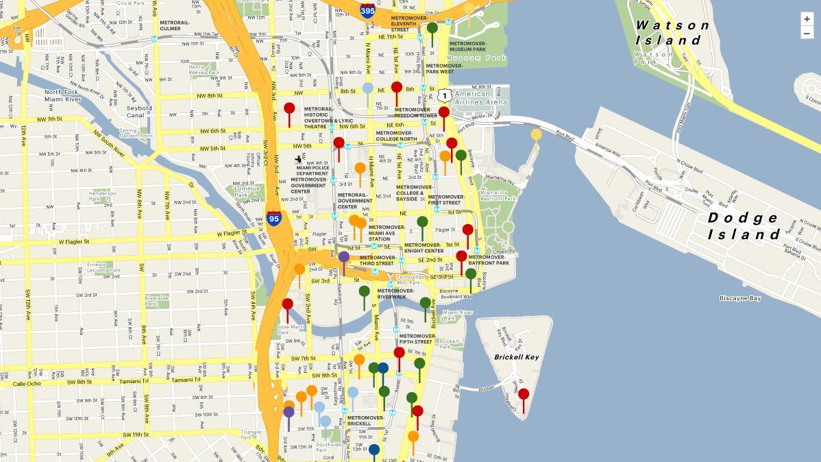 Map Of Miami Florida And Surrounding Areas Florida Political Map - Street Map Of Downtown Miami Florida
