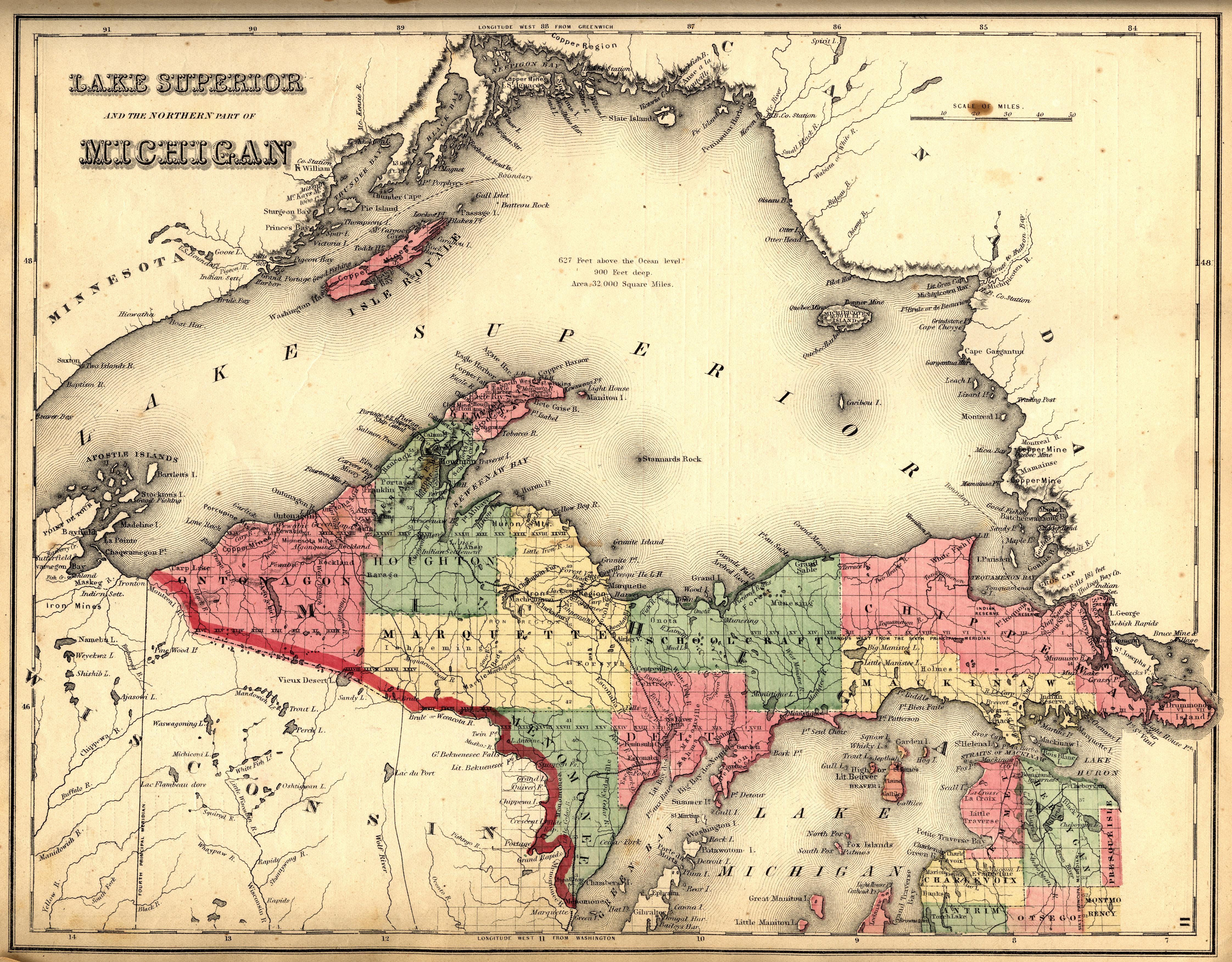 Map Of Michigan Upper Peninsula And Travel Information | Download - Printable Map Of Upper Peninsula Michigan