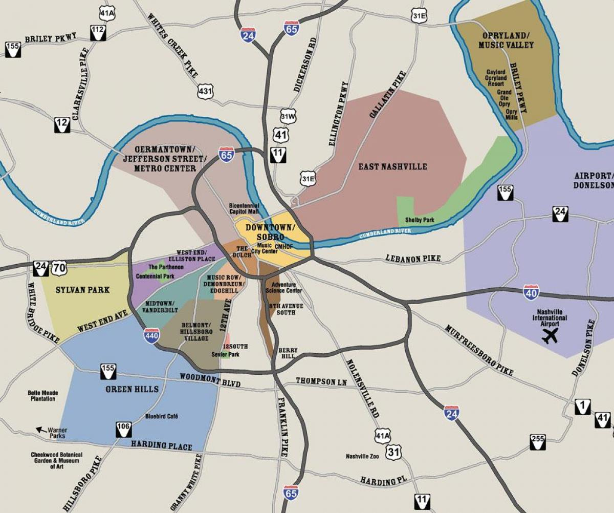 Map Of Nashville And Surrounding Areas - Map Nashville And - Printable Map Of Nashville