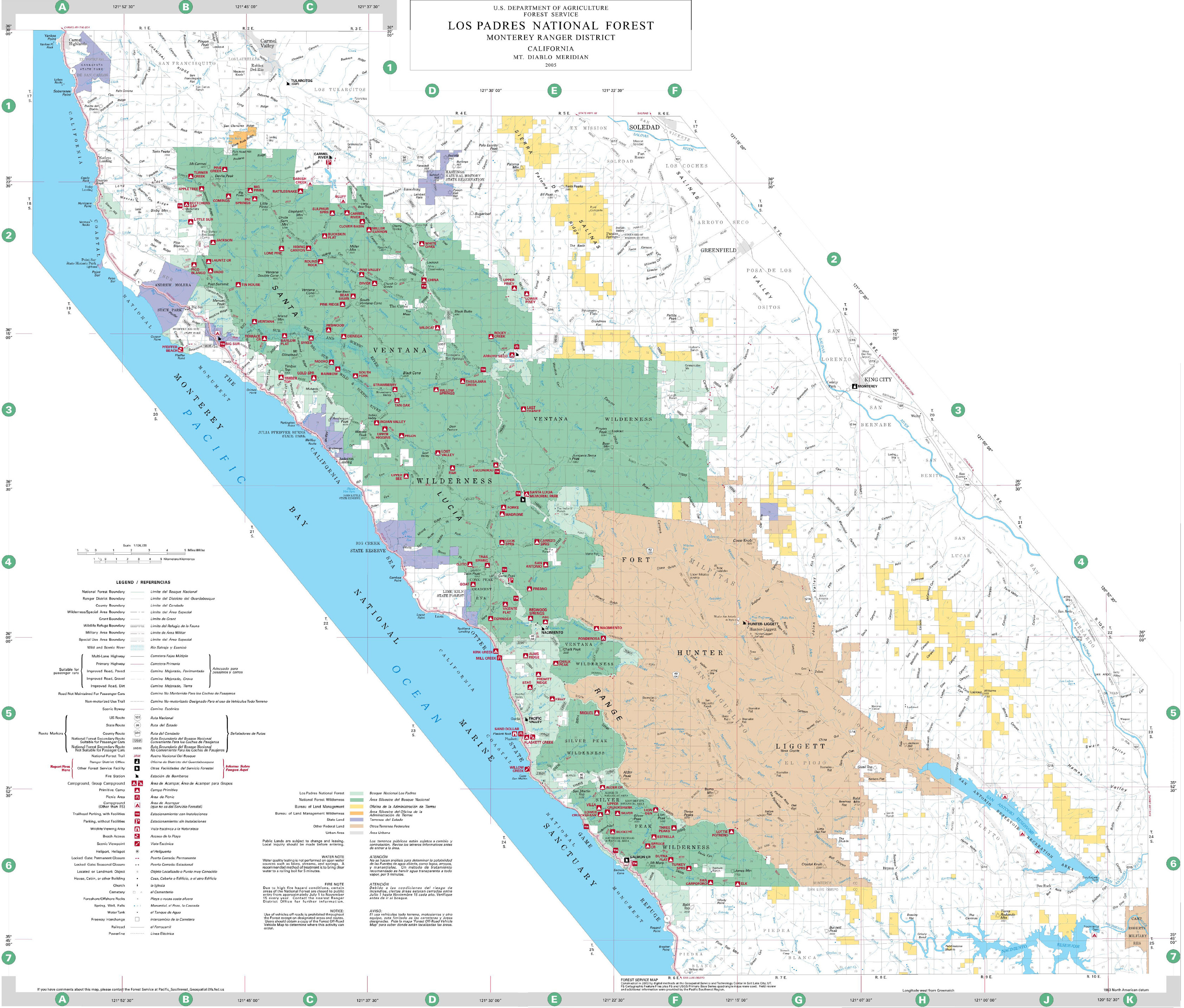 Map Of National Forests In California Printable Map California Map - California Forests Map