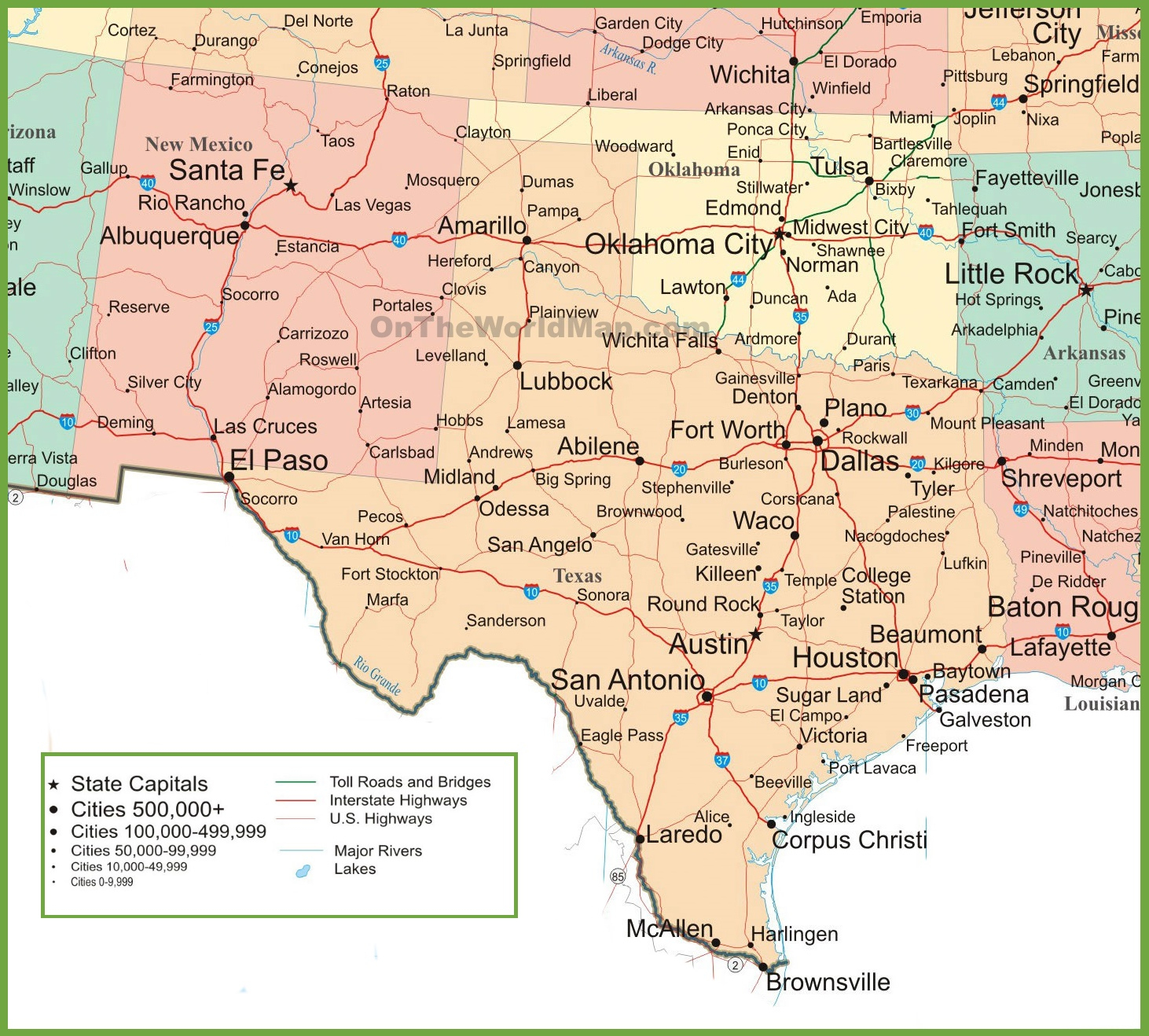 Map Of New Mexico, Oklahoma And Texas - Texas New Mexico Map