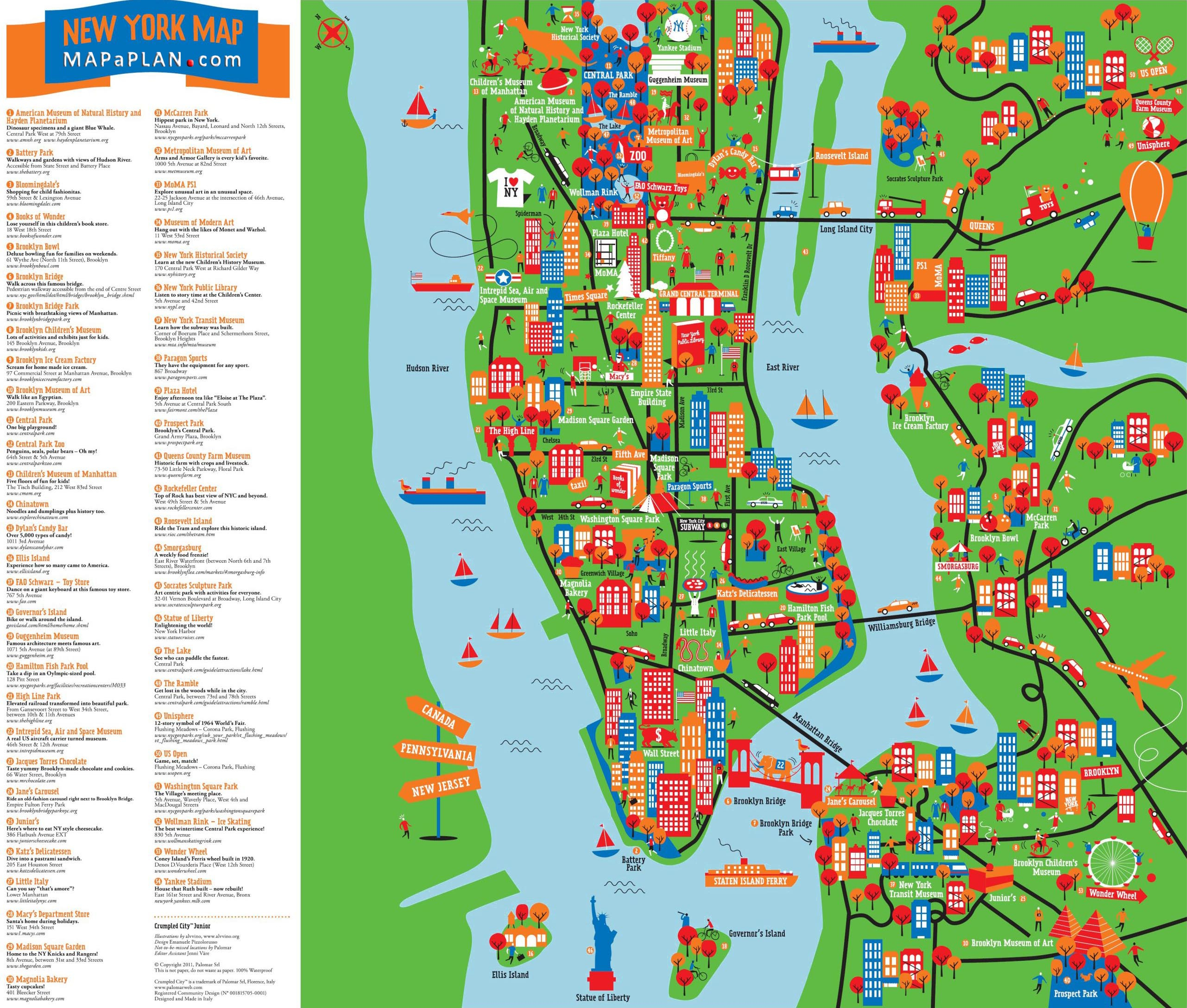 Map Of New York City Attractions Printable Download Map New York - New York Printable Map Pdf