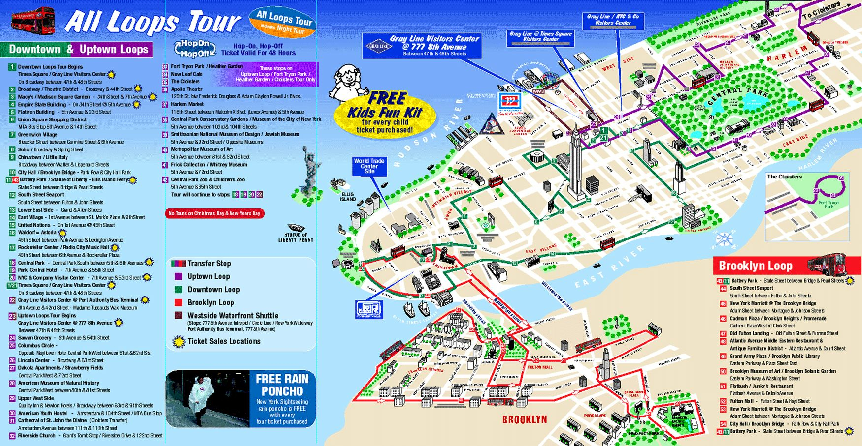 Map Of New York City Attractions Printable |  Tourist Map Of New - New York Downtown Map Printable