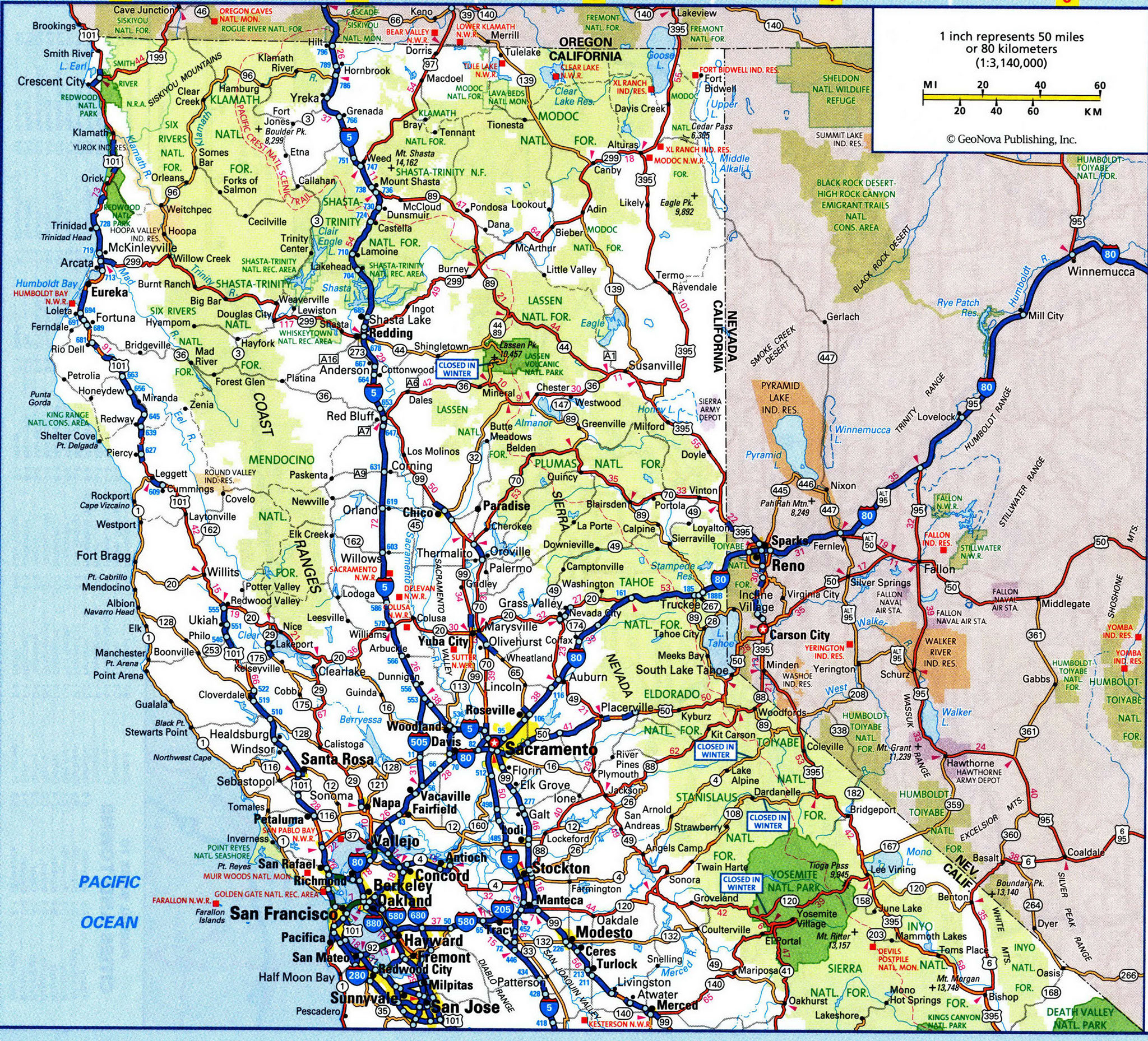 Map Of North California California River Map Detailed Map Of - Detailed Road Map Of Northern California