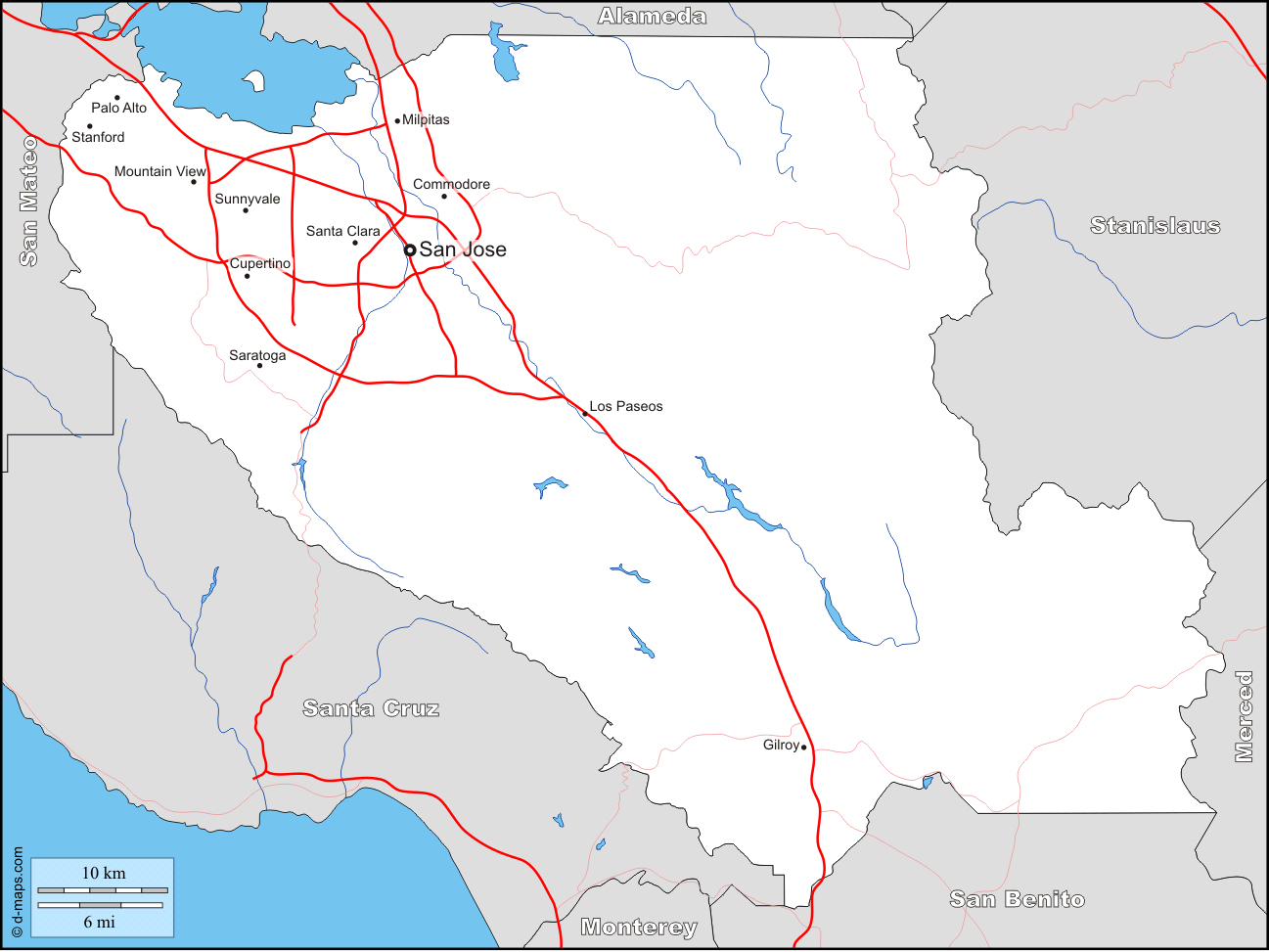 Map Of North California Cities - Klipy - Milpitas California Map
