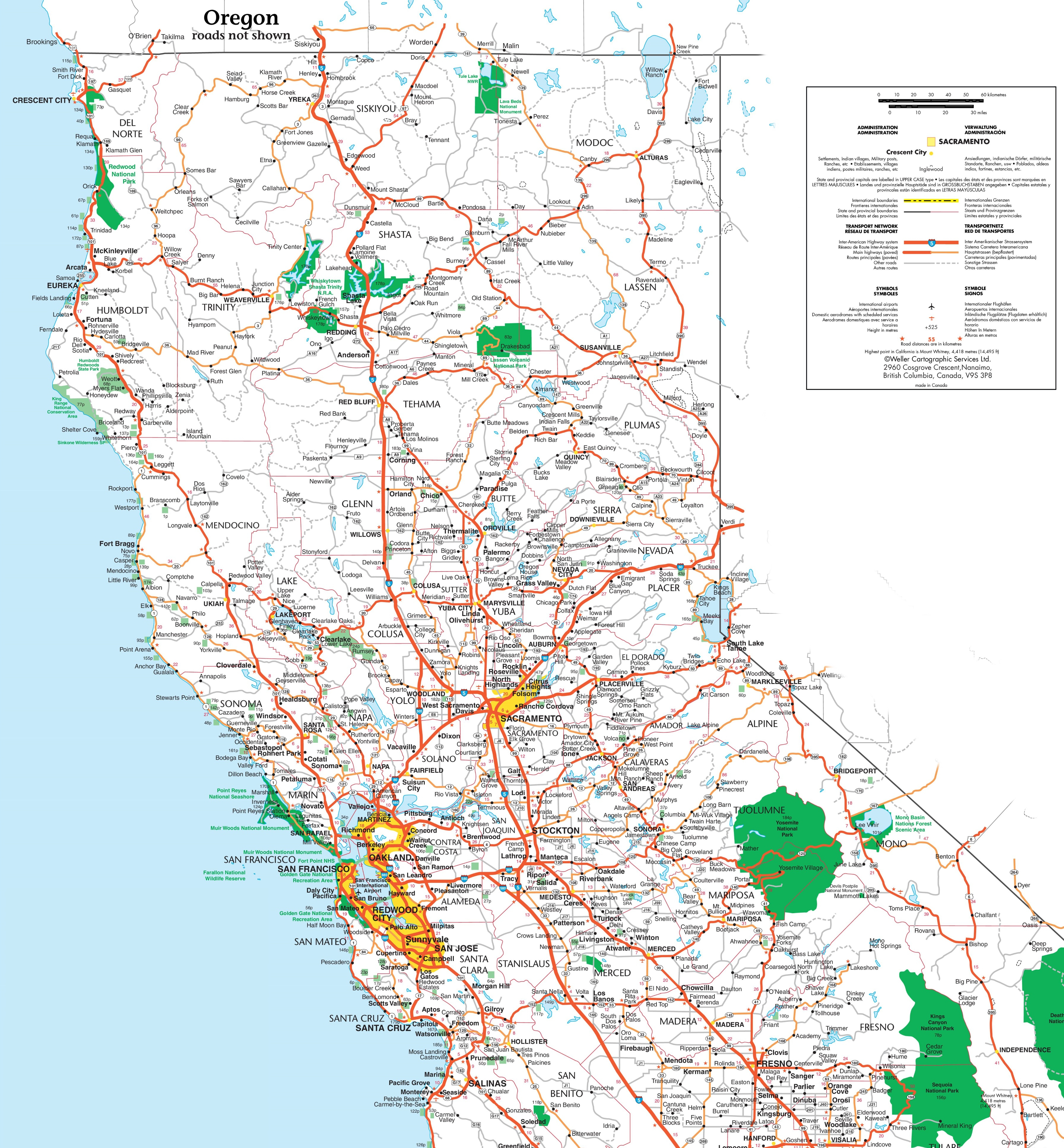 Map Of Northern California - Northern California Highway Map