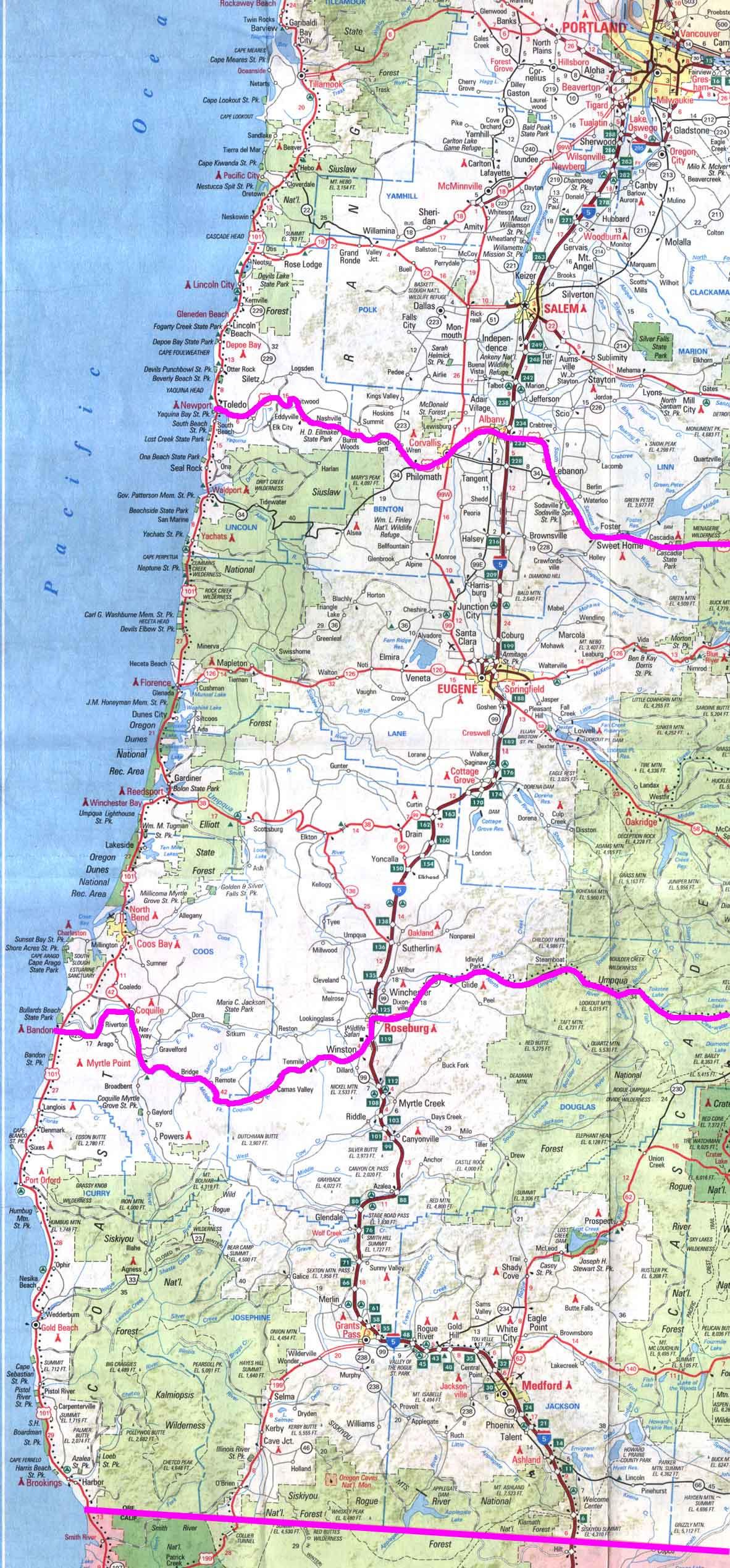 Map Of Oregon California Coast Detailed Map California California - Map Of Oregon And California Coastline