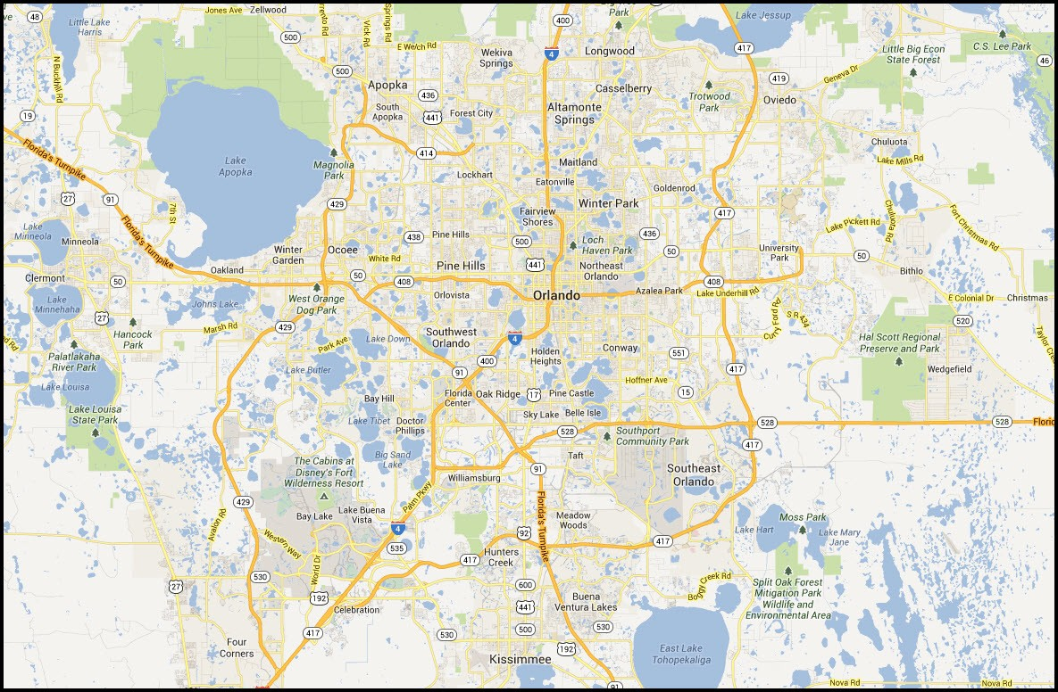 Map Of Orlando Florida And Surrounding Cities | Globalsupportinitiative - Map Of Orlando Florida Area