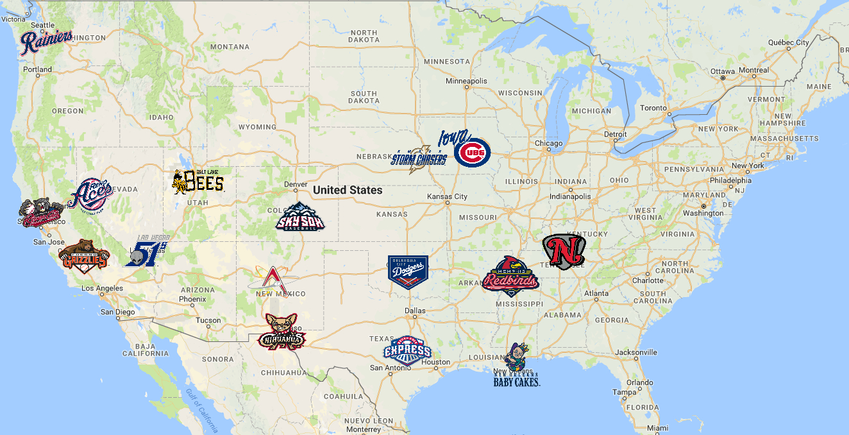 Map Of Pacific Coast League (Pcl) Teams | Minor League Baseball - California Baseball Teams Map