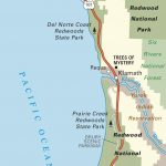 Map Of Pacific Coast Through Redwood National Park. | Pacific Coast   California Redwood Parks Map