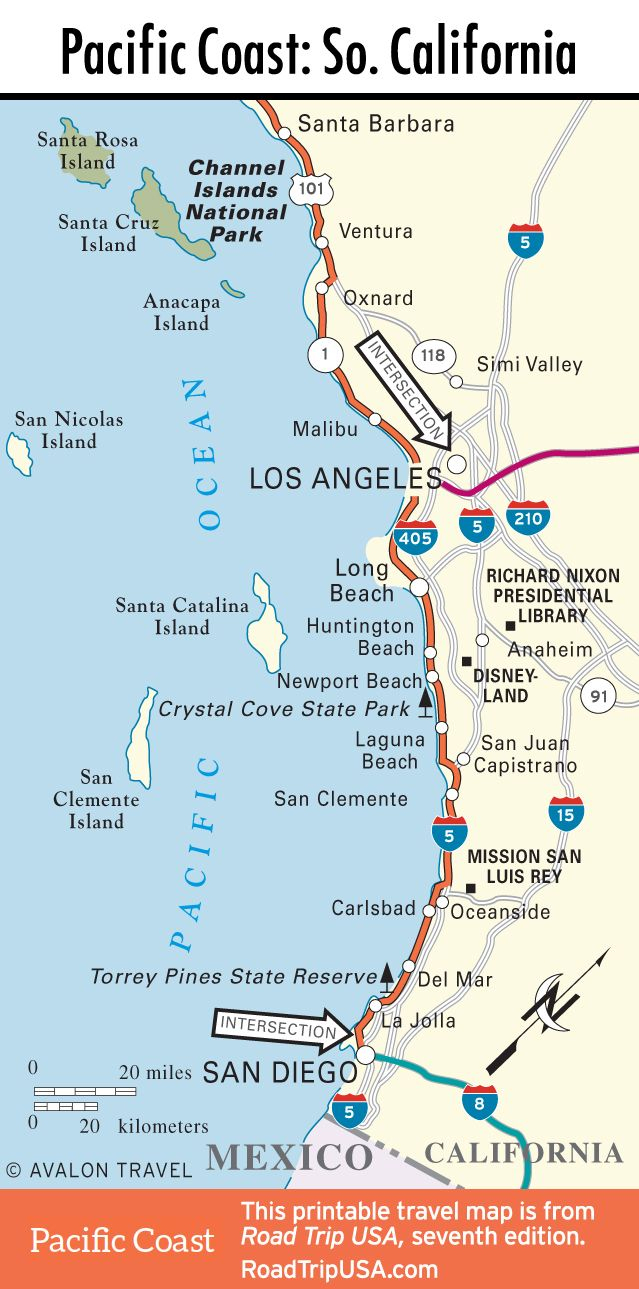 Map Of Pacific Coast Through Southern California.   Southern - Map Of California And Mexico Coast