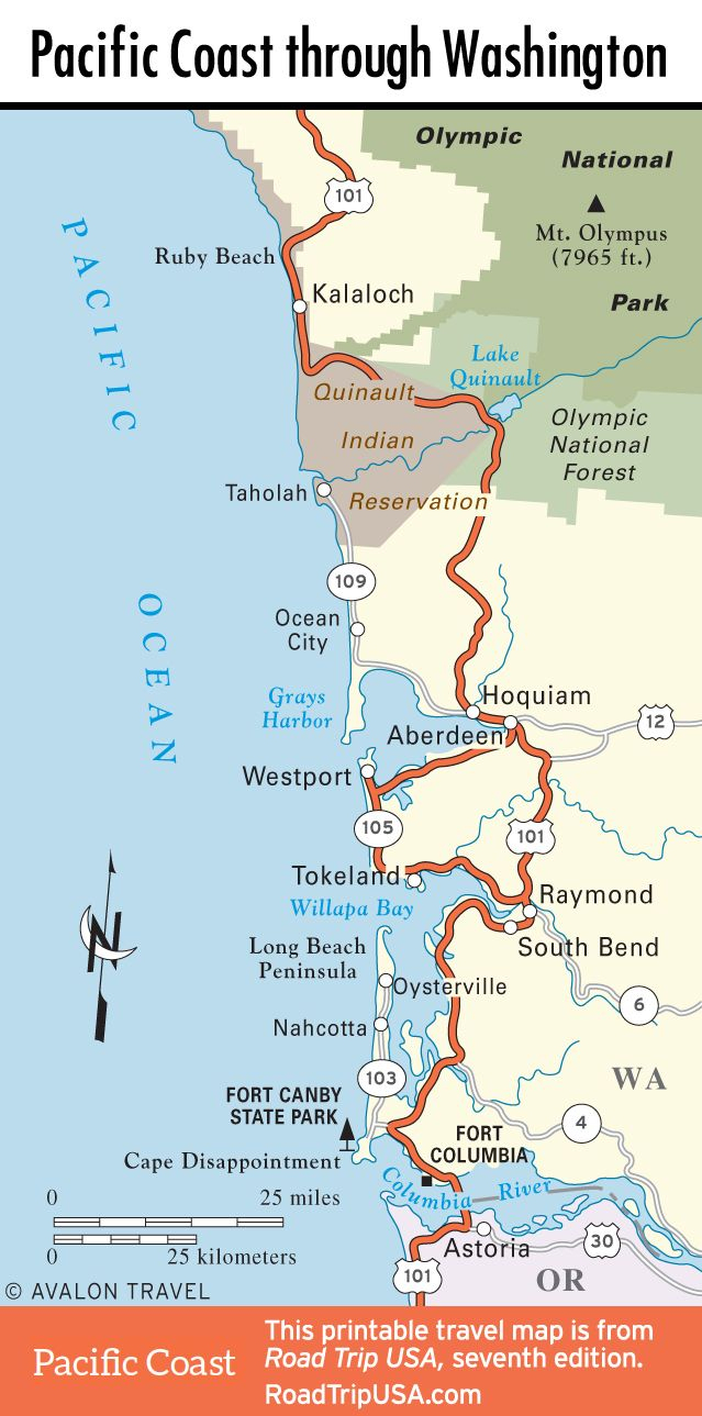 Map Of Pacific Coast Through Southern Washington Coast. | Bucket - Washington Oregon California Coast Map
