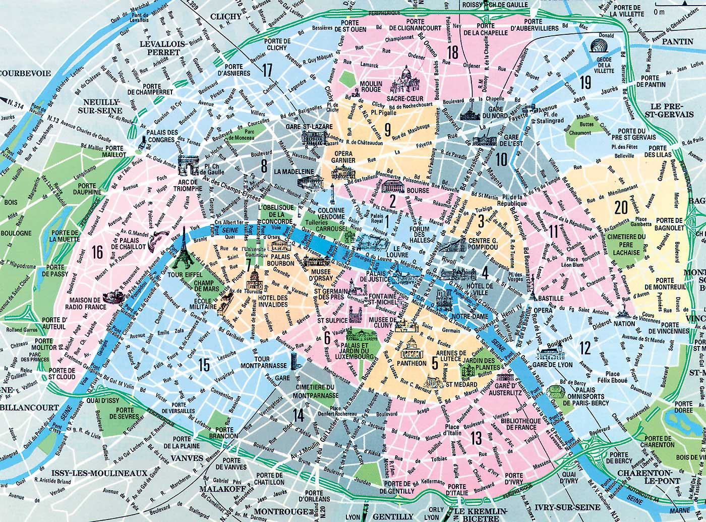 Map Of Paris Arrondissements. Top Arrondissement Sights. - Printable Map Of Paris Arrondissements