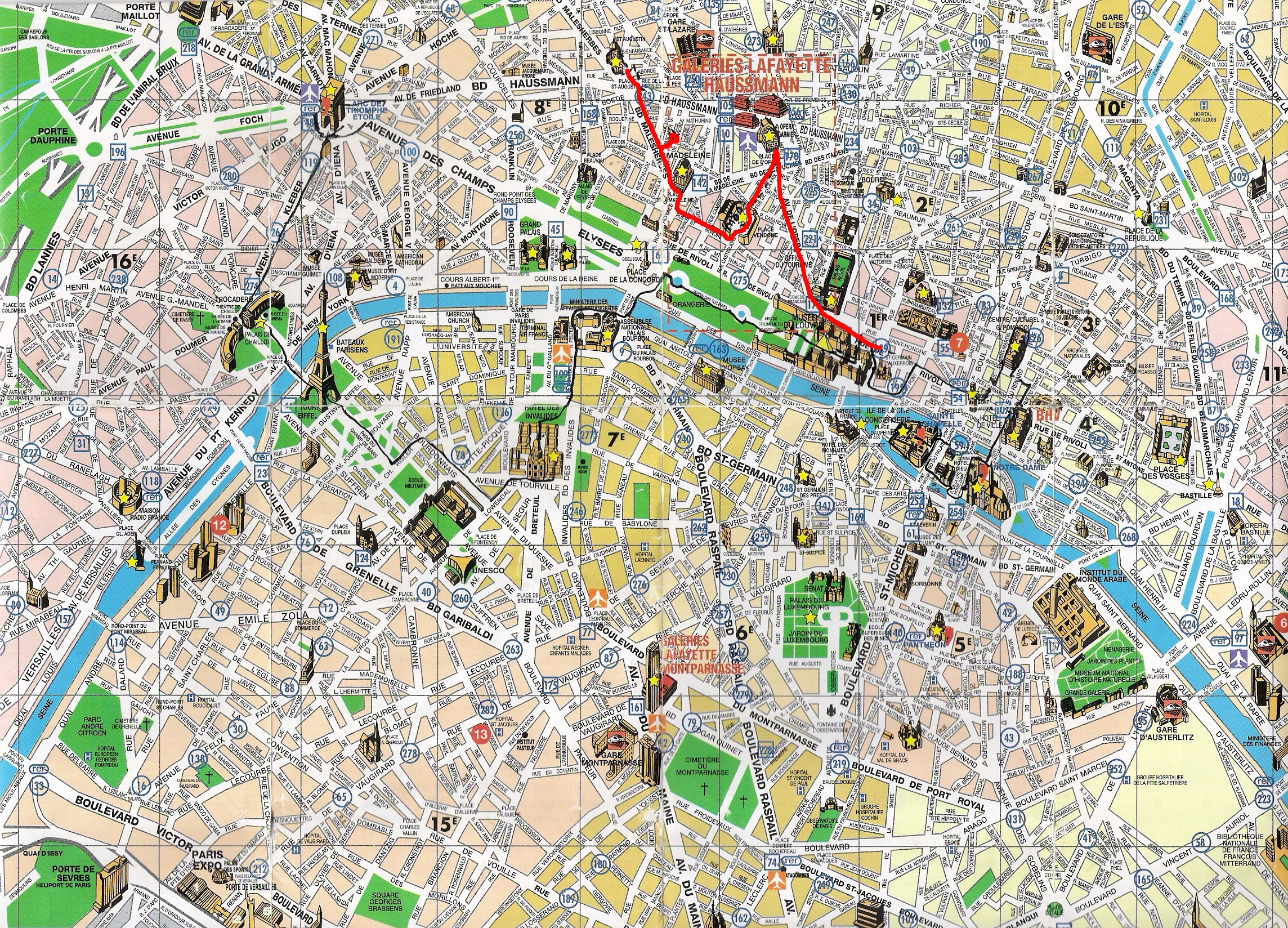 Map Of Paris Attractions Printable Download Map Paris Tourist - Paris Map For Tourists Printable
