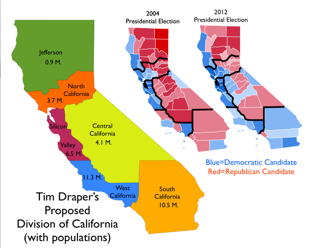 Map Of Proposal To Divide California Into Six States [1000X794 - Divide California Map