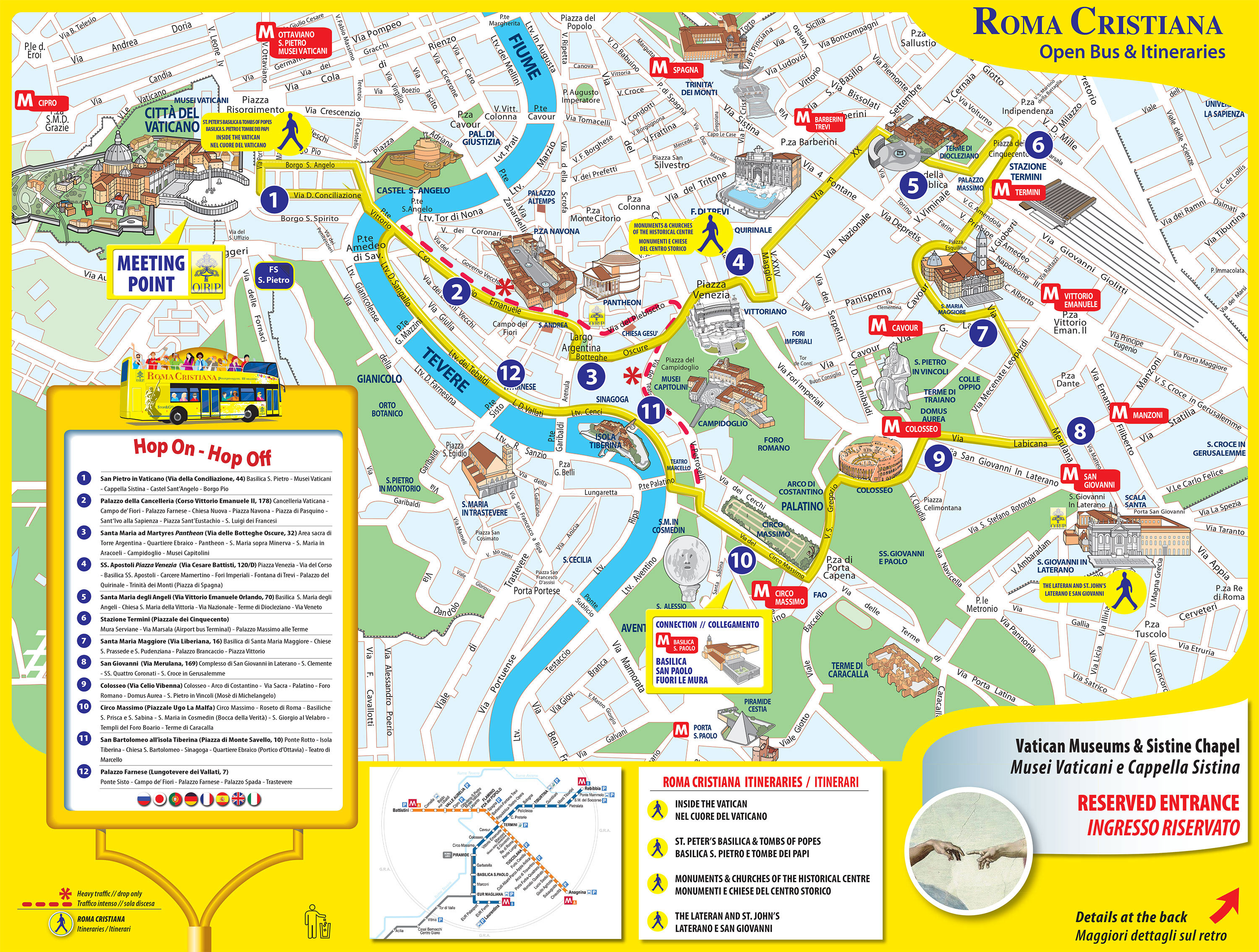 Map Of Rome Tourist Attractions, Sightseeing & Tourist Tour - Tourist Map Of Rome Italy Printable