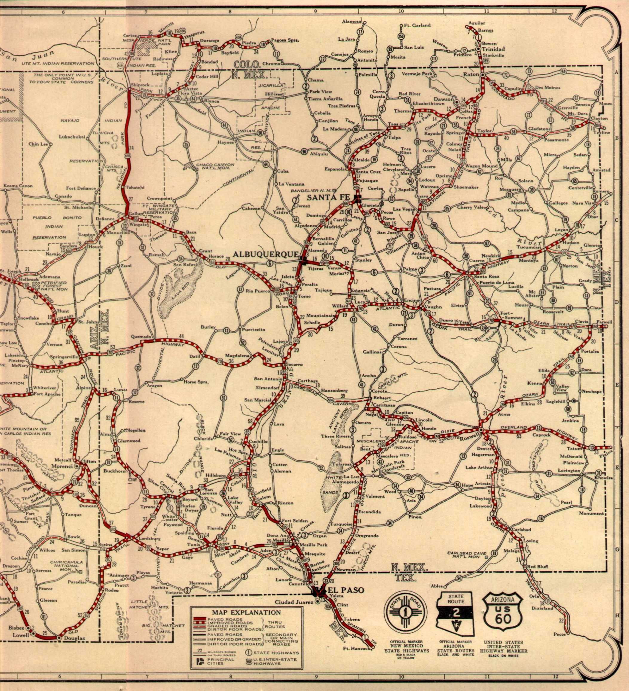 Map Of Route 66 In California Free Printable Route 66 On 1926 Az Nm - Free Printable Route 66 Map