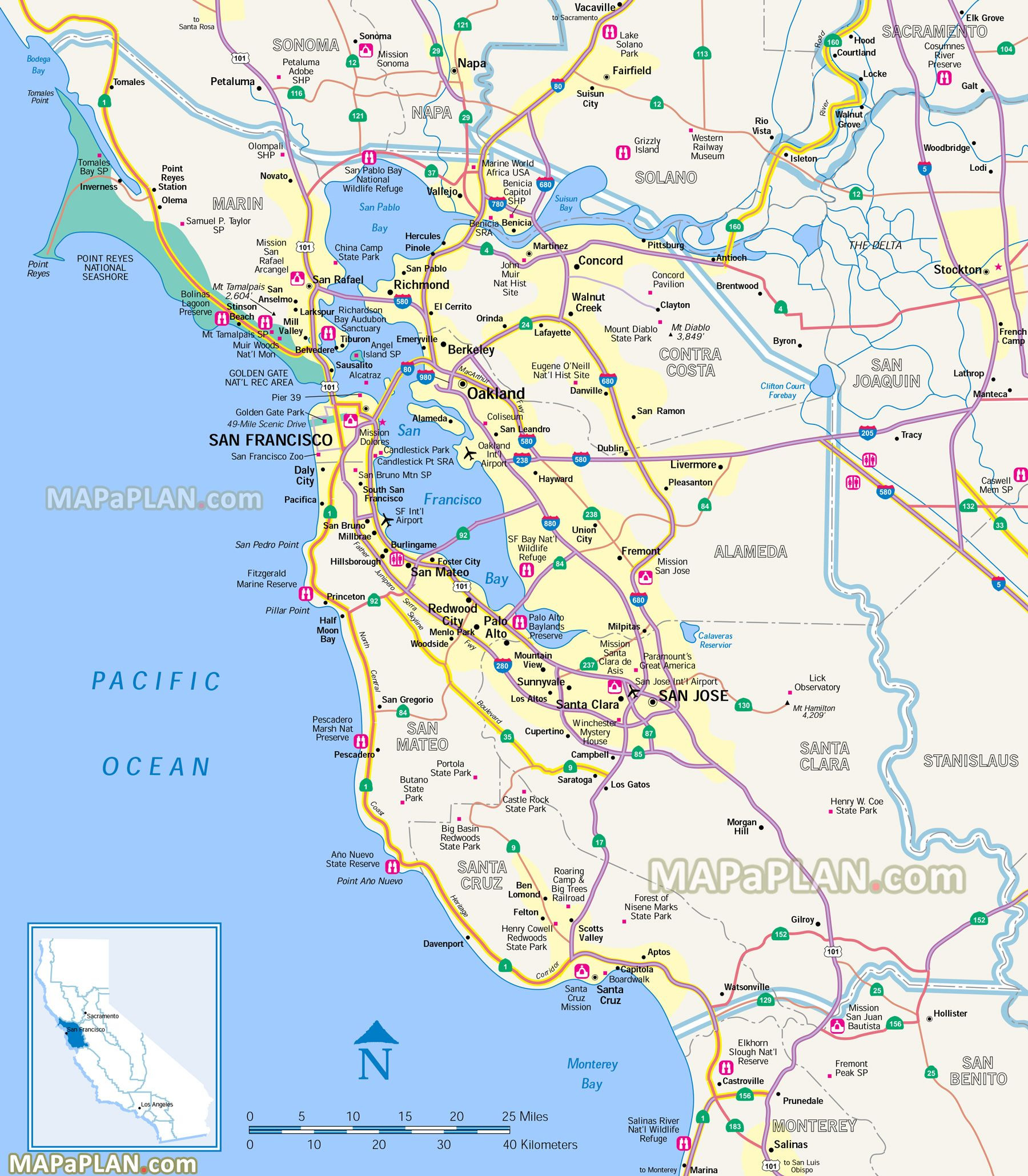 Map Of San Francisco Bay Area California Outline San Francisco Top - San Francisco Bay Area Map California