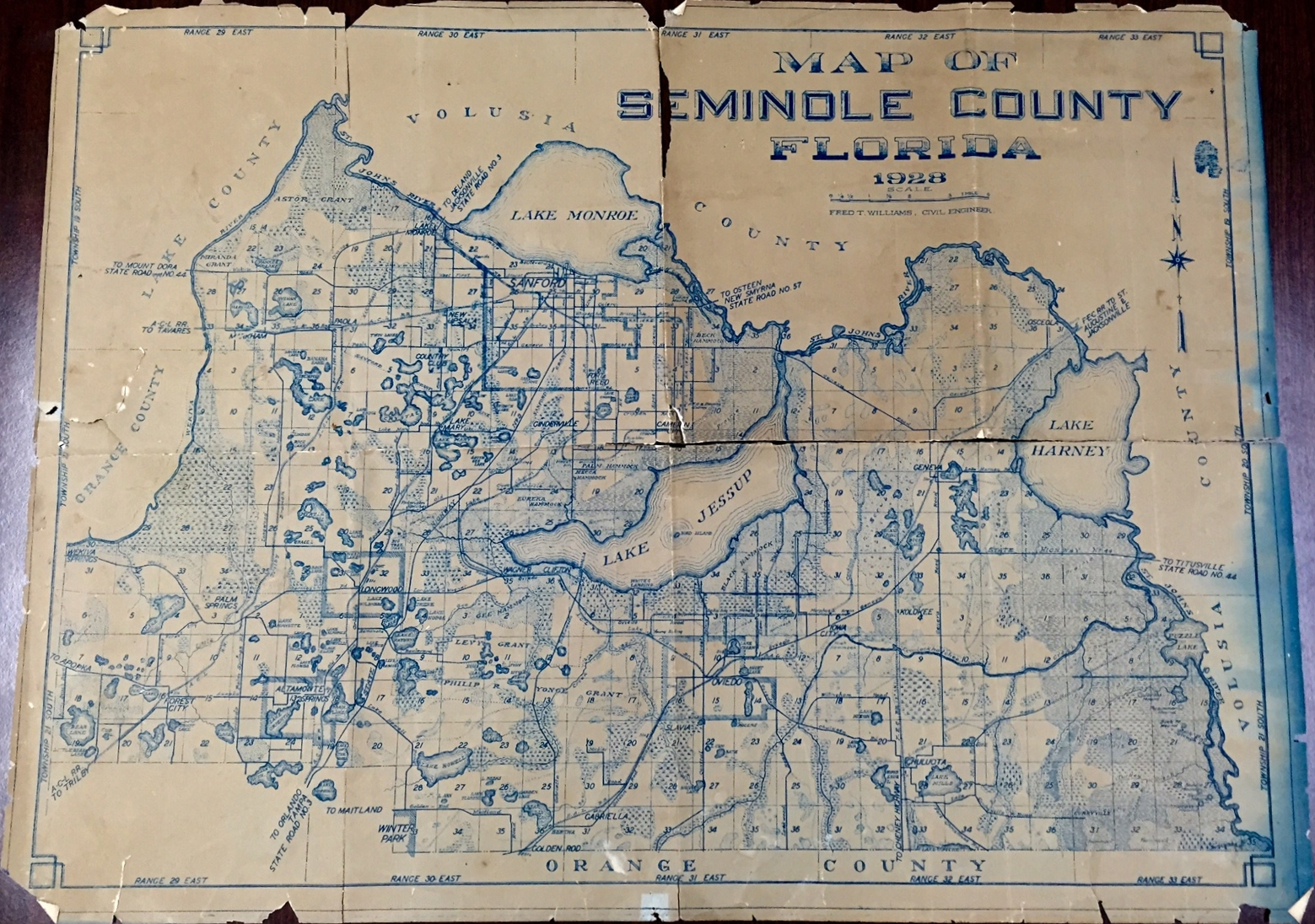 Map Of Seminole County, Florida, 1928 · Riches - Map Of Seminole County Florida