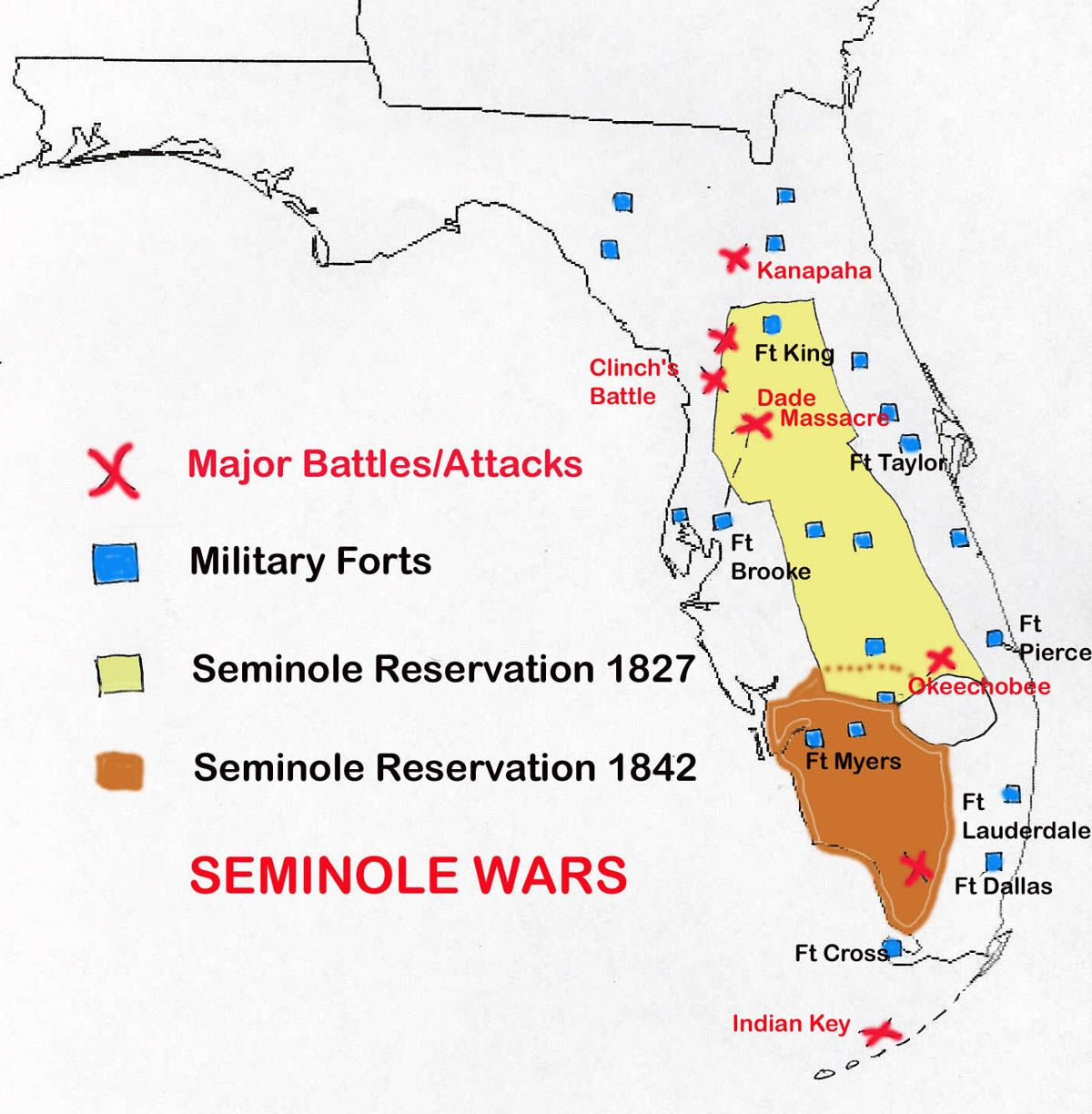 Map Of Seminole Wars In Florida | Family Tree | Pinterest | Seminole - Seminole Florida Map