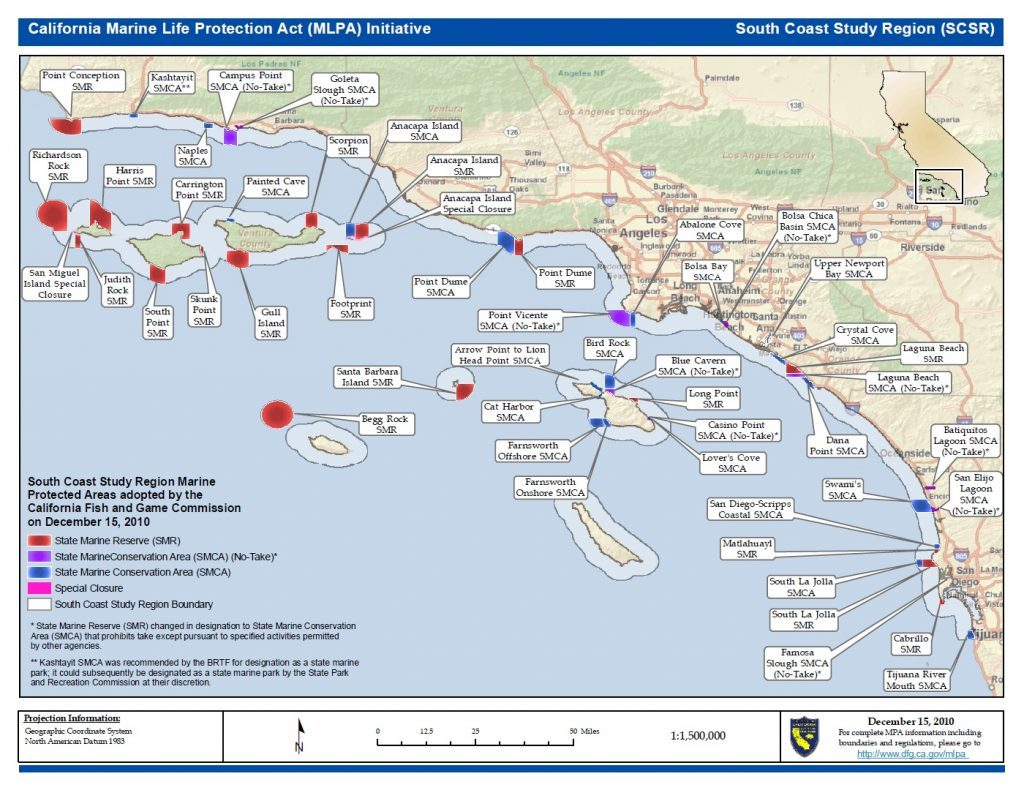 Map Of South California Coast - Klipy - Southern California Ocean Fishing Maps
