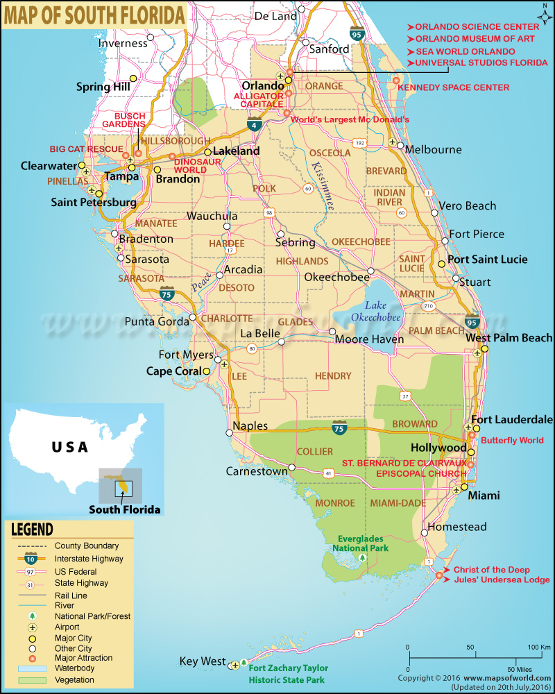 Map Of South Florida, South Florida Map - Map Of Florida Near Orlando