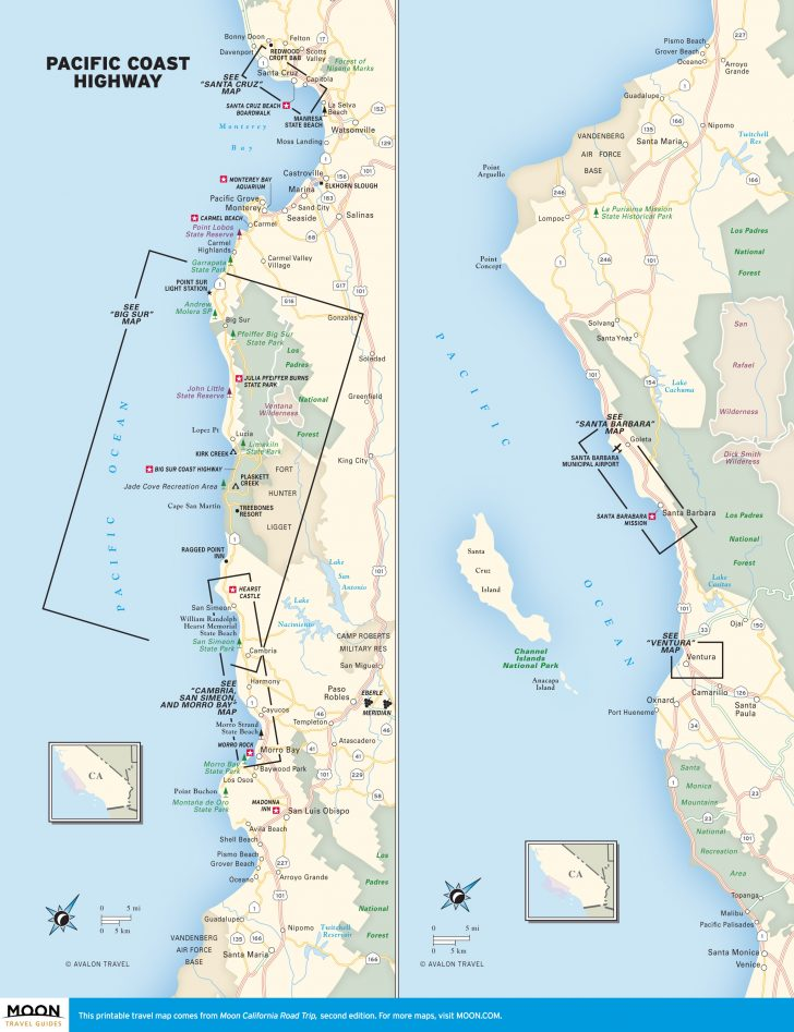 California Coastal Towns Map