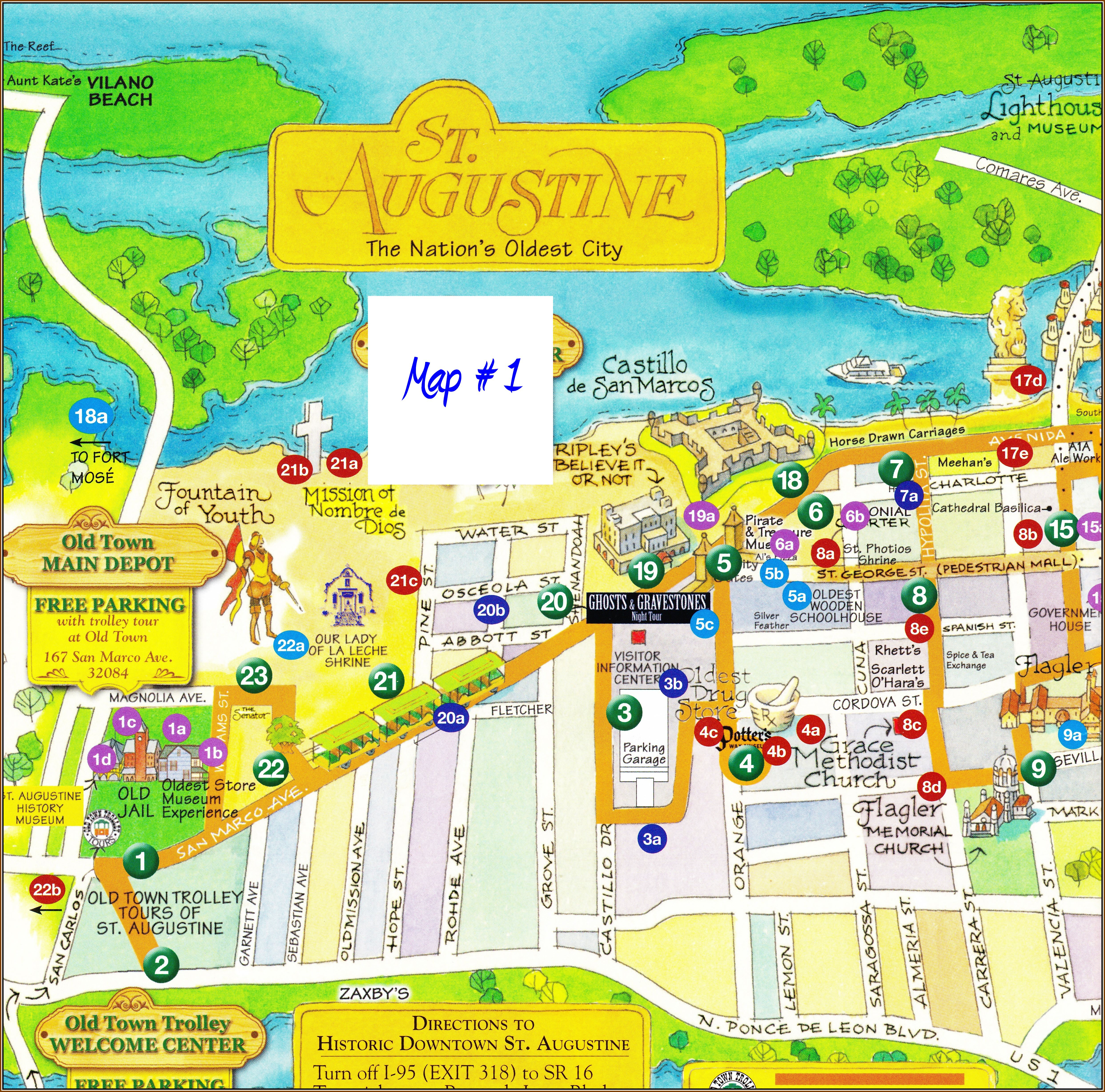 Map Of St Augustine Fl | World Map 07 - St Augustine Florida Map Of Attractions
