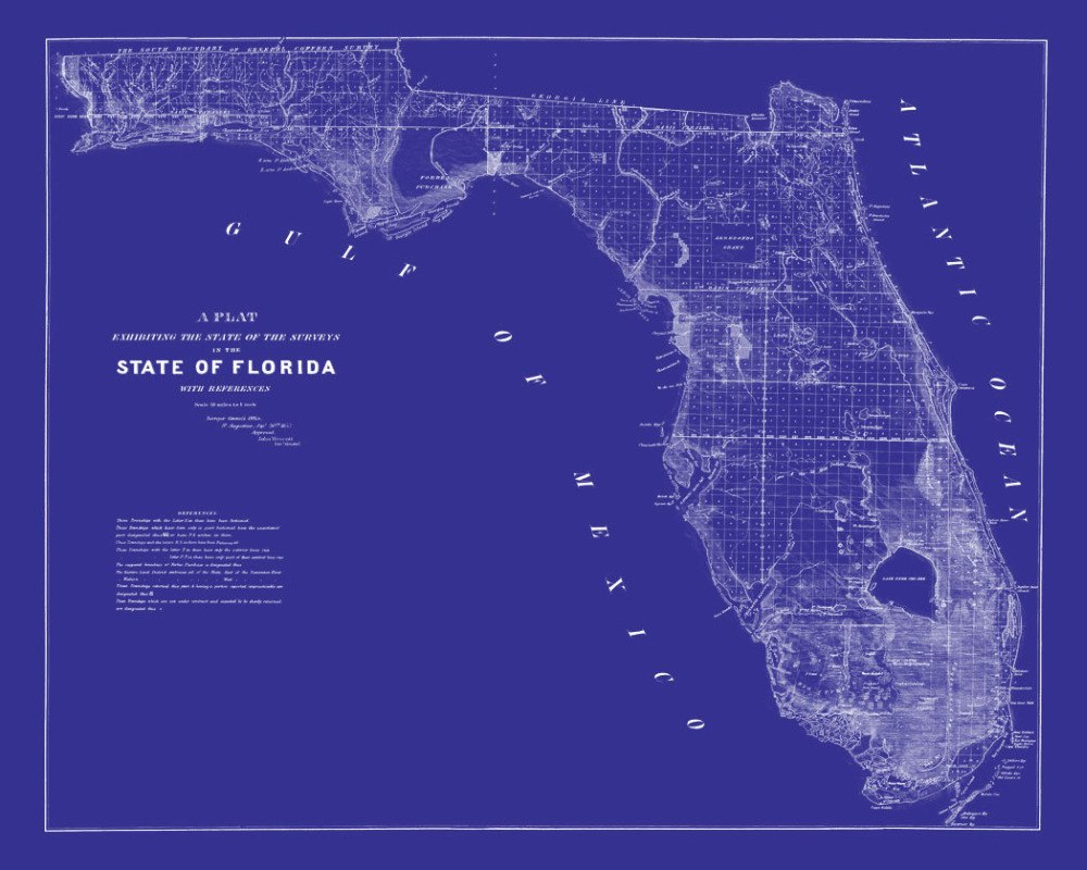 Map Of States Of Florida American Classic Vintage Retro Kraft - Florida Map Poster