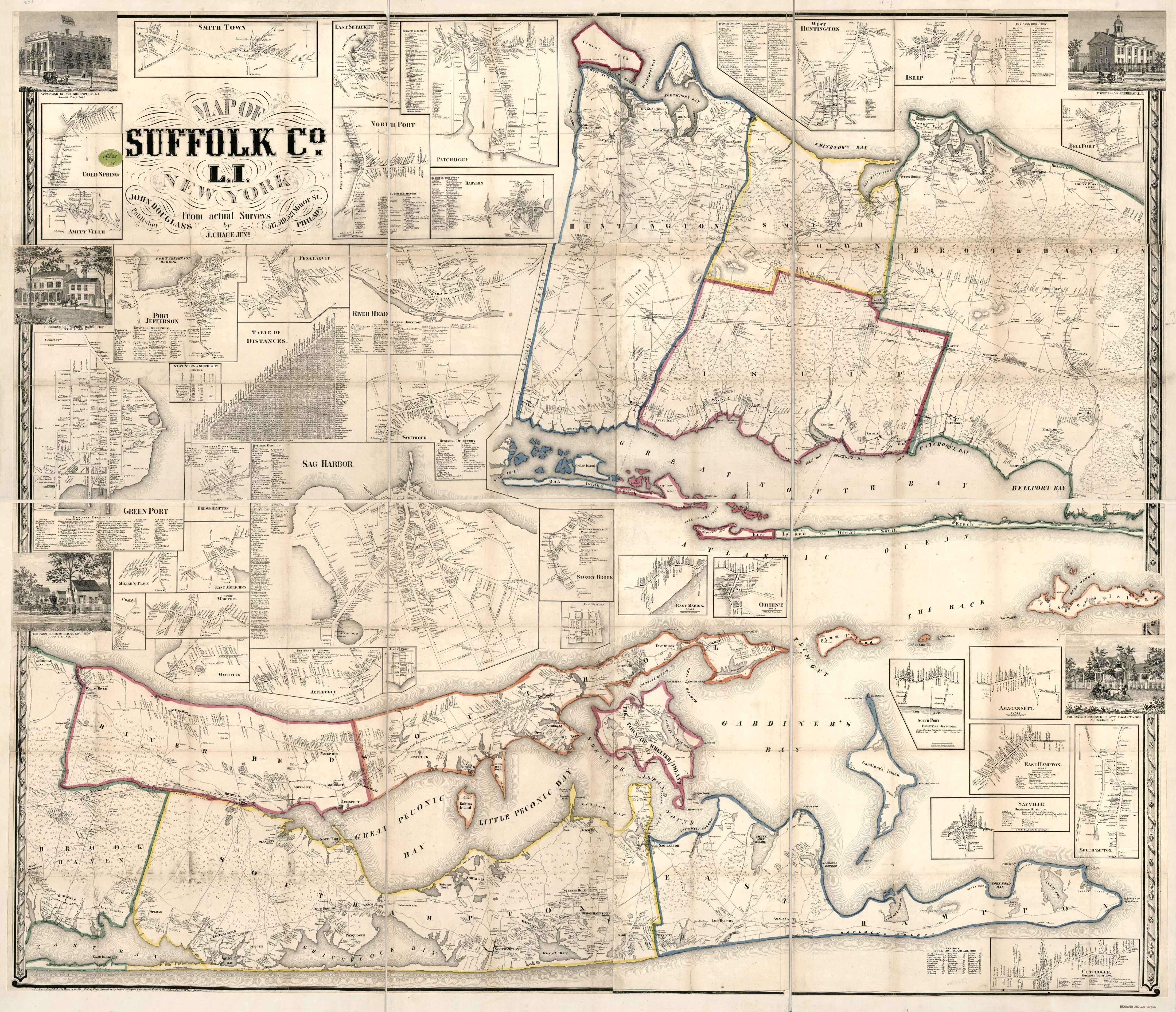 Map Of Suffolk County, L.i., N.y. : From Actual Surveys | Library Of - Printable Map Of Suffolk County Ny