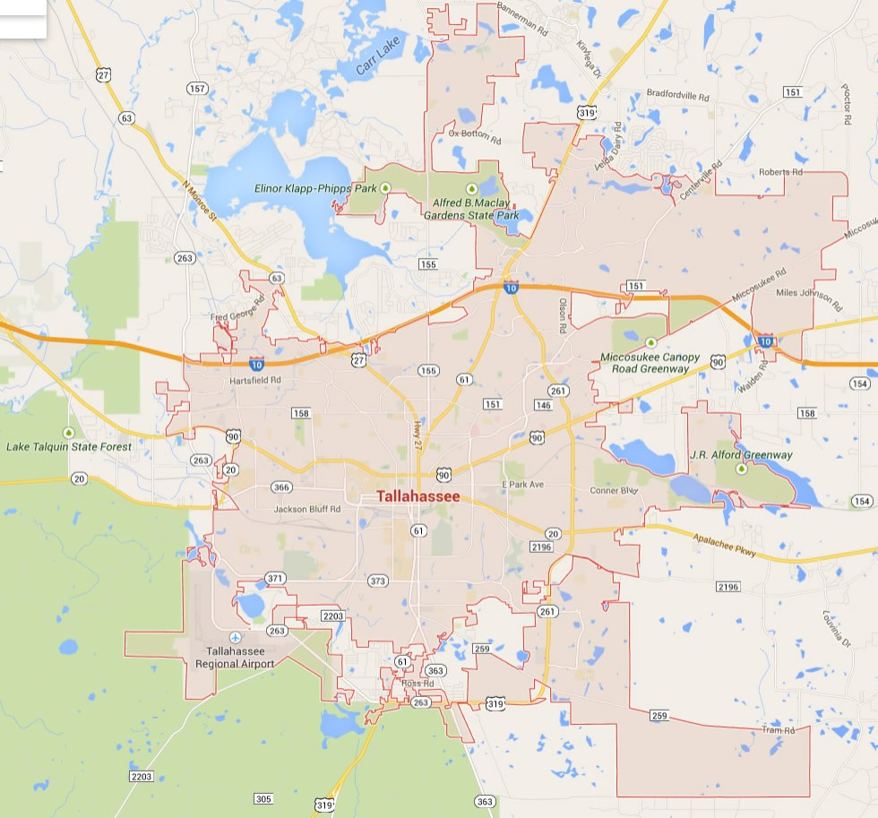 Map Of Tallahassee Florida Usa | D1Softball - Tallahassee On The Map Of Florida