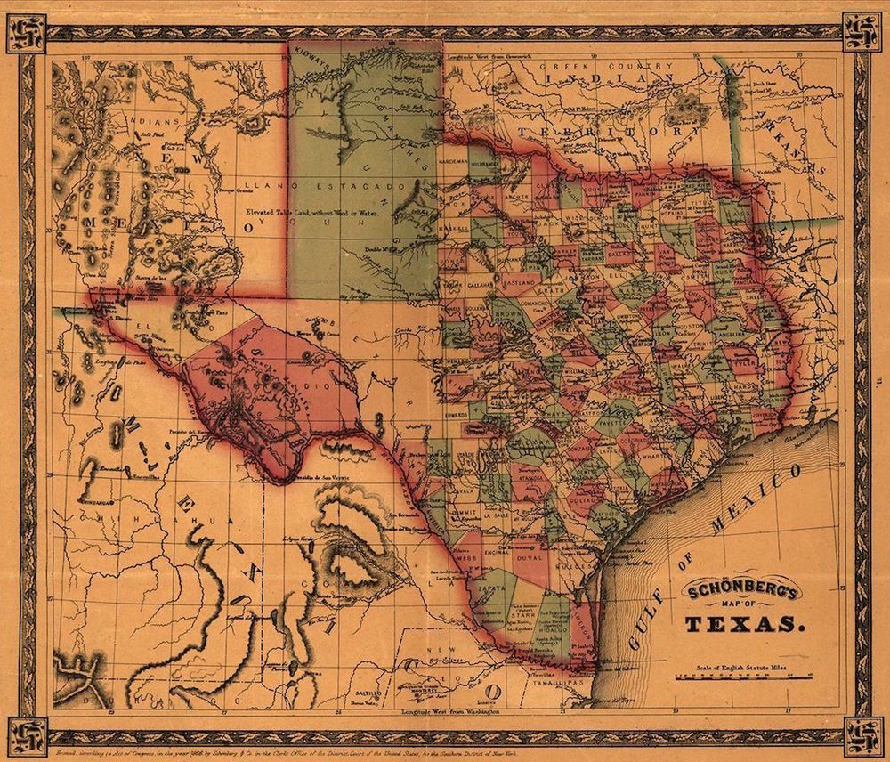 Map Of Texas 1866 Antique State Map Rolled Canvas Giclee Print 28X24 - Texas Map Canvas
