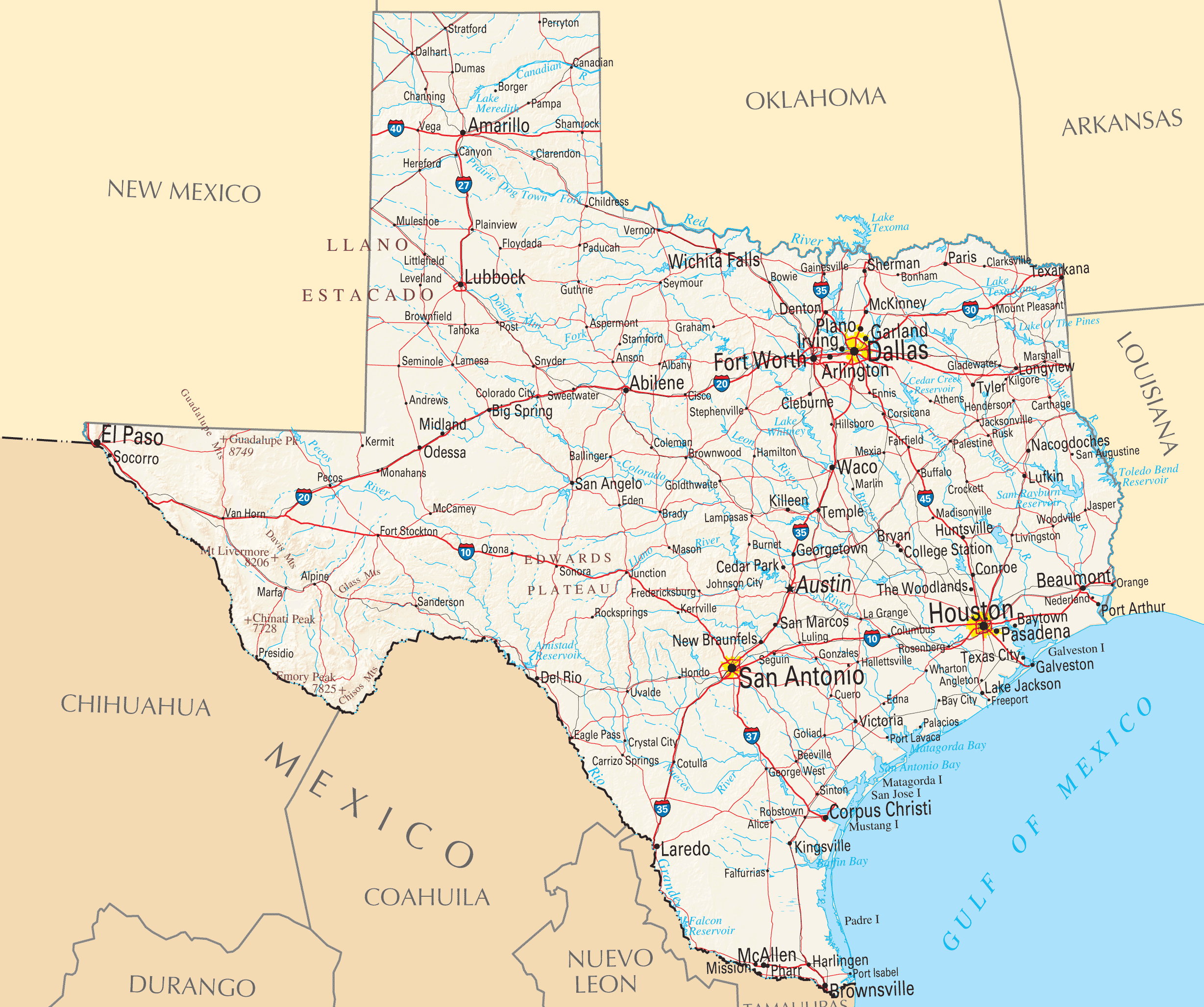 Map Of Texas Cities And Roads And Travel Information | Download Free - Texas Road Map With Cities And Towns