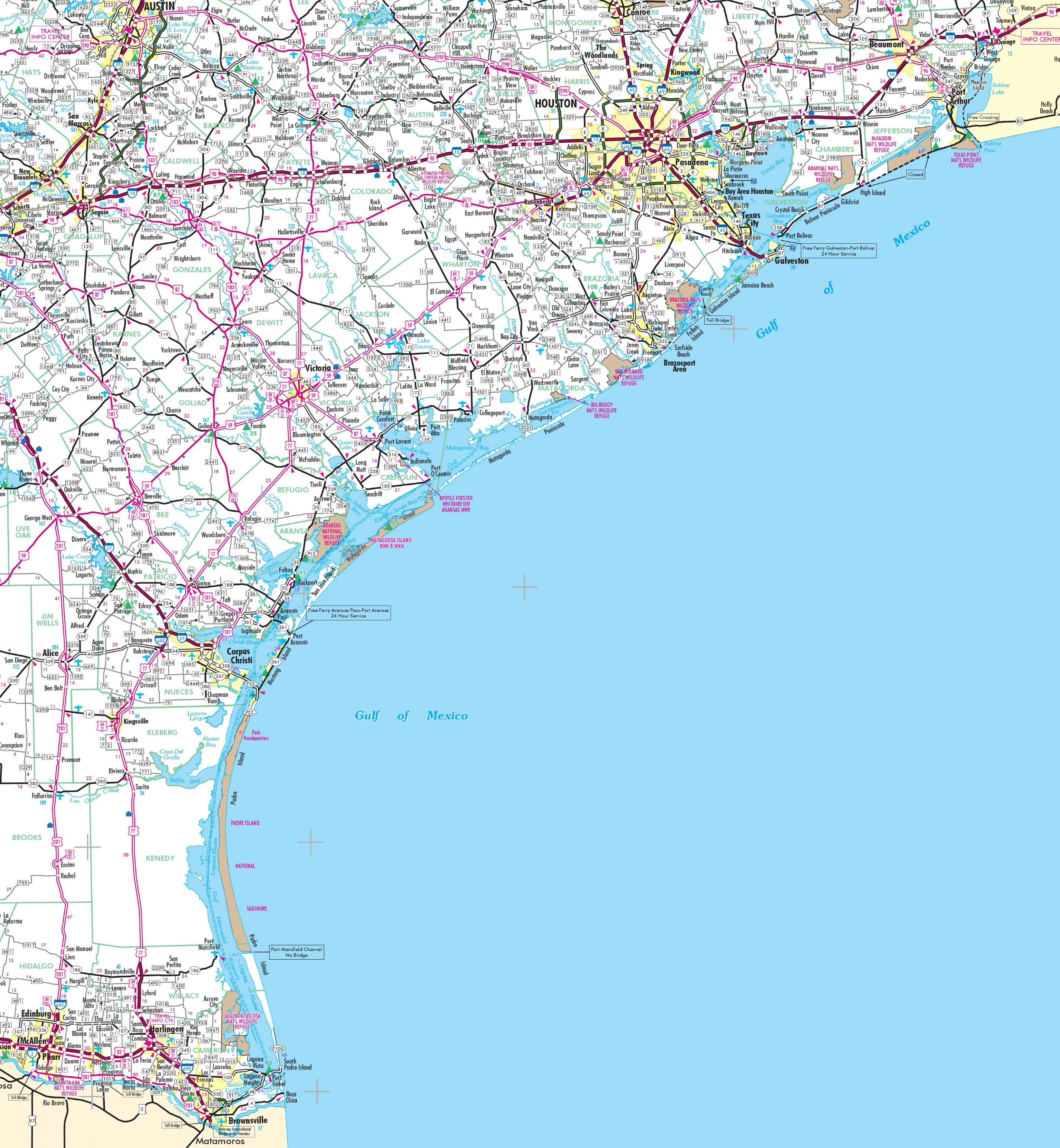 Map Of Texas Coast - Map Of South Texas Coast