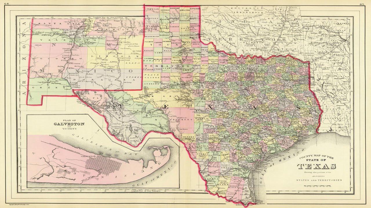 Map Of Texas Counties (1890) - Youtube - Lajitas Texas Map