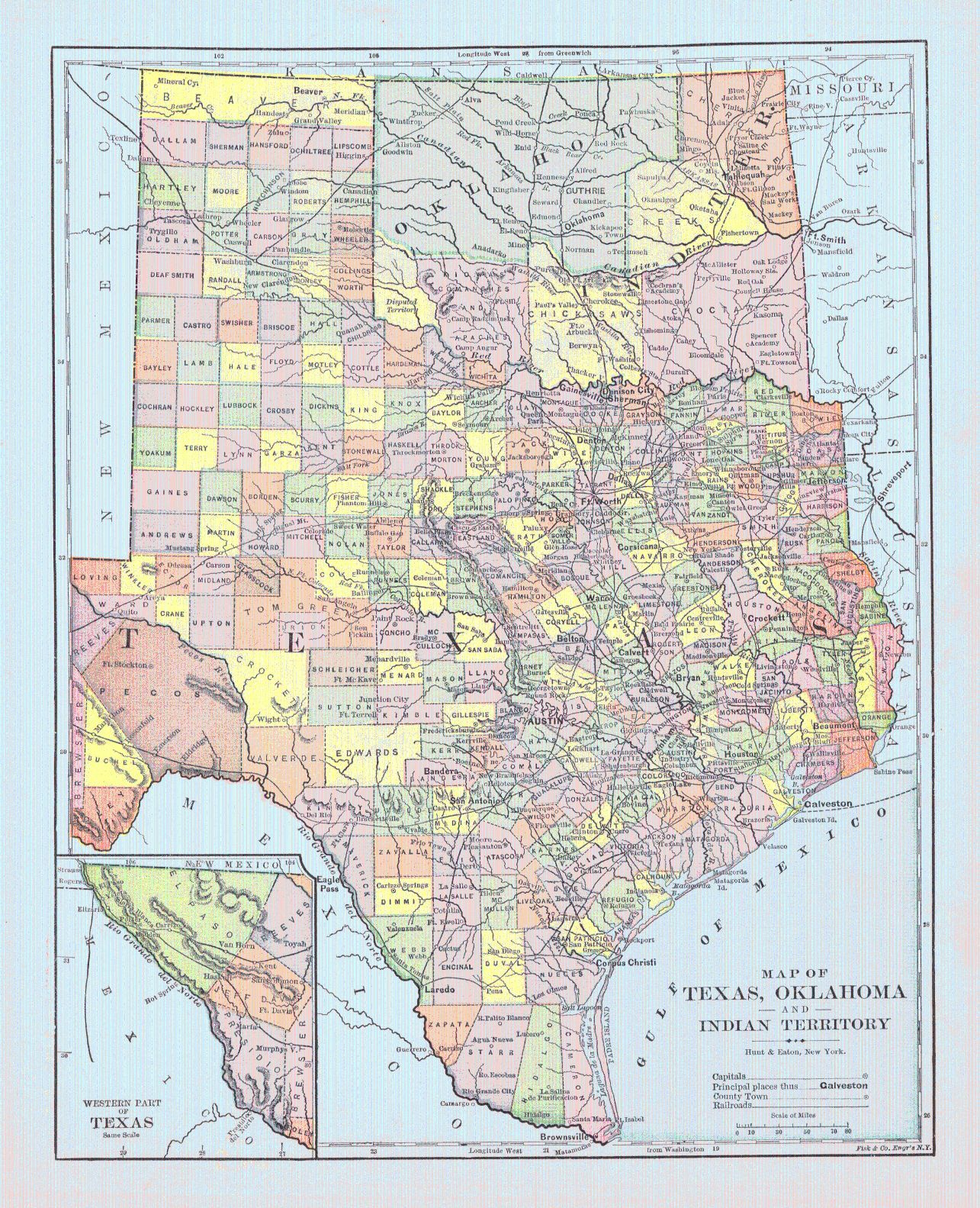 Map Of Texas, Oklahoma And Indian Territory. Hunt & Eaton, Fisk & Co - Map Of Oklahoma And Texas Together