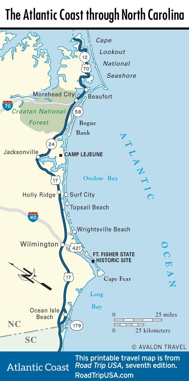 Map Of The Atlantic Coast Through North Carolina. | Maps - U.s. - Florida Atlantic Coast Map
